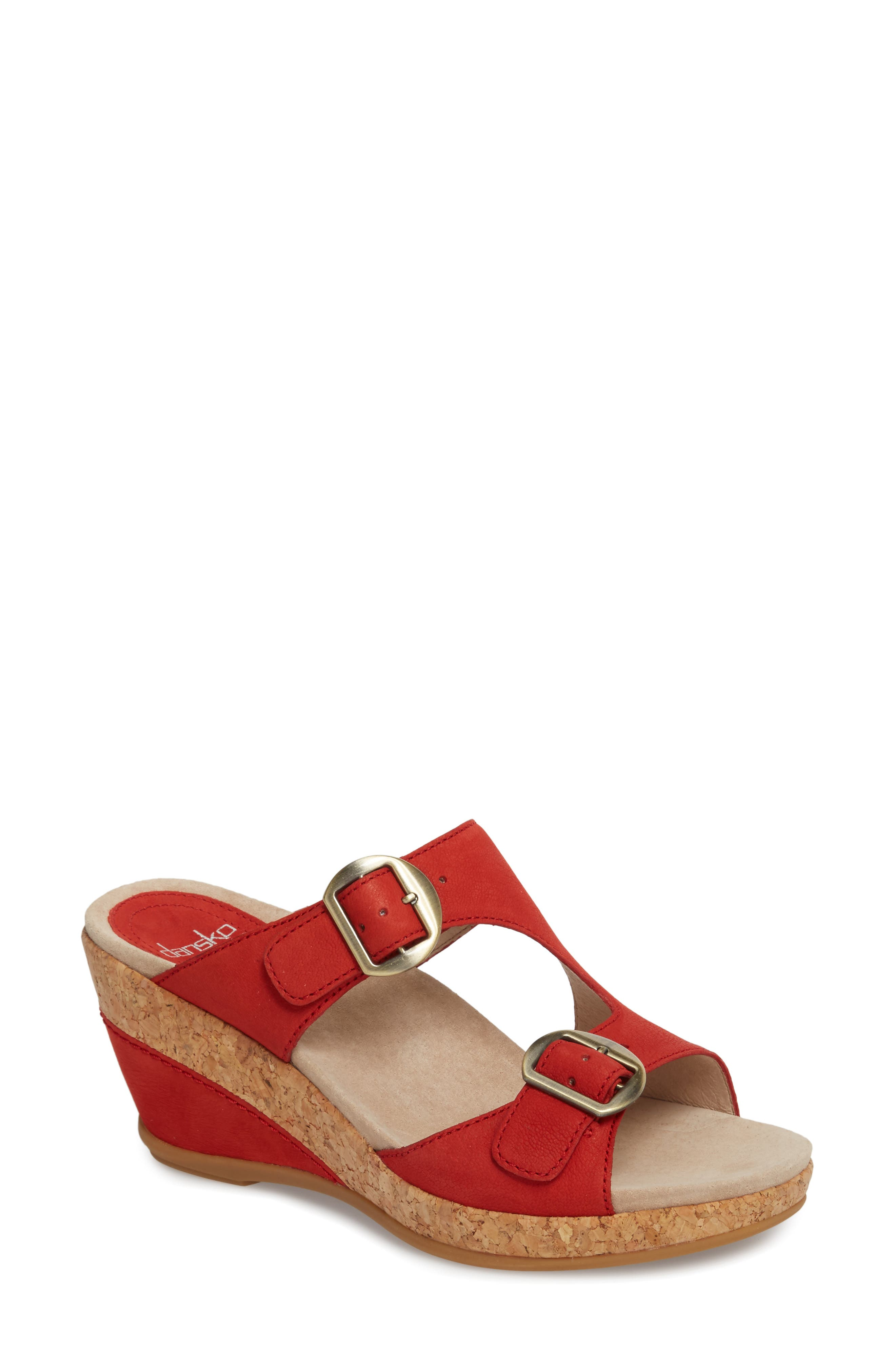 Carla Wedge Slide Sandal,                         Main,                         color, TOMATO MILLED NUBUCK LEATHER
