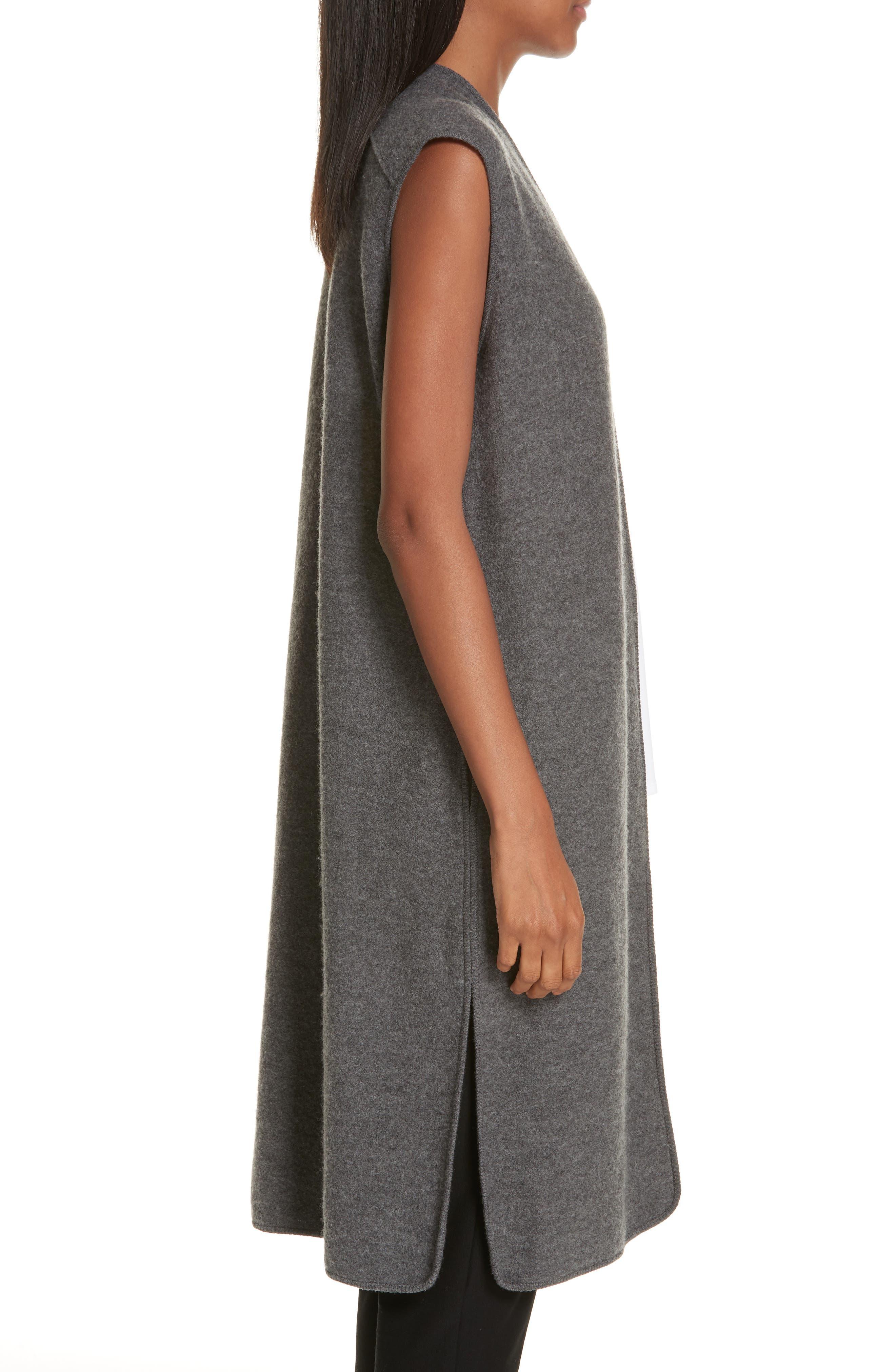 Long Merino Wool Vest,                             Alternate thumbnail 3, color,                             030