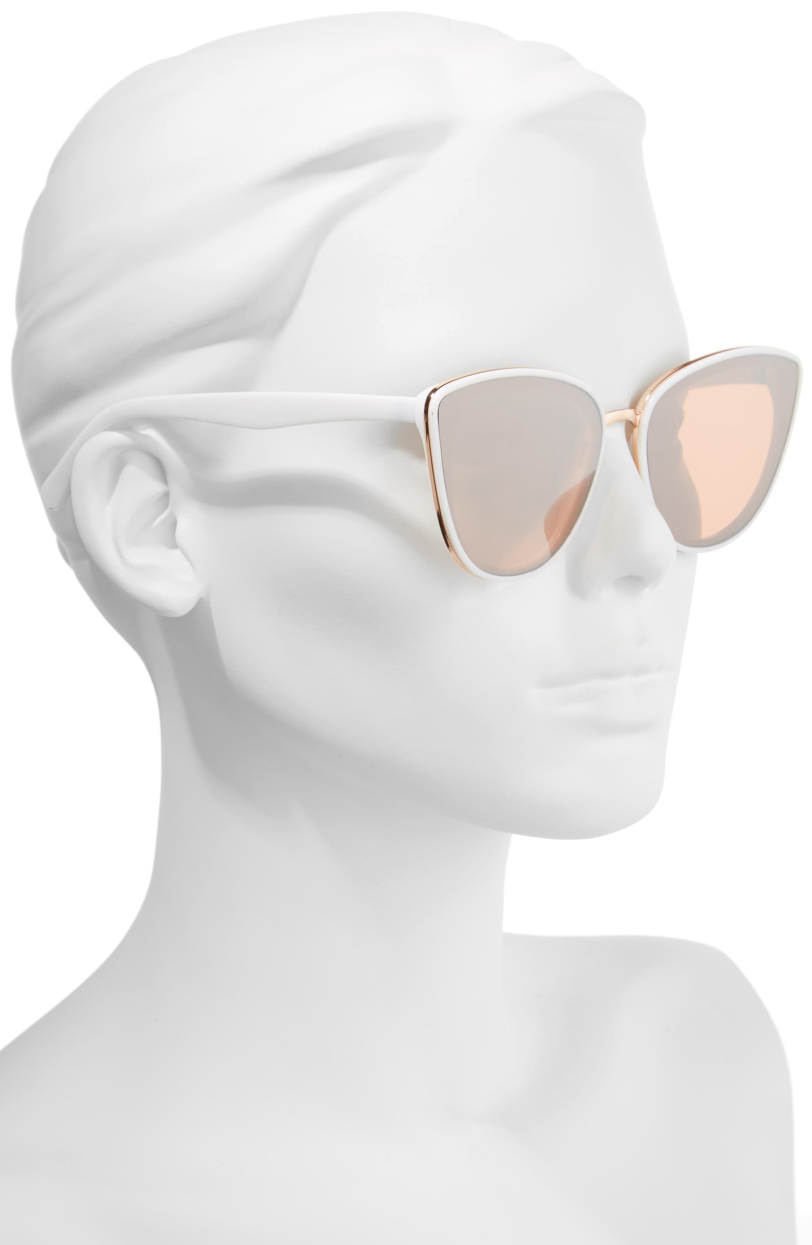 59mm Perfect Cat Eye Sunglasses,                             Alternate thumbnail 2, color,                             WHITE/ ROSE GOLD