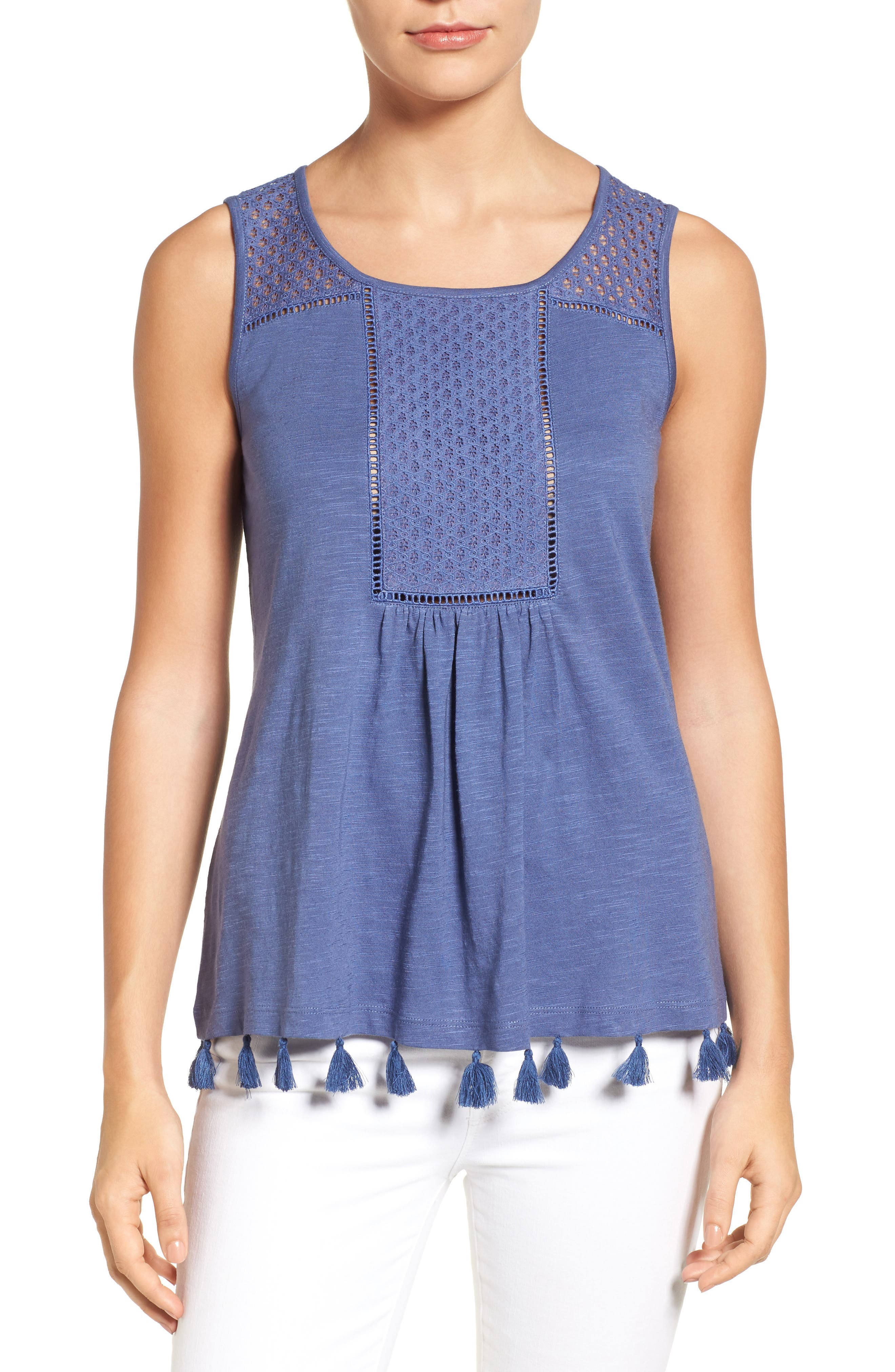 Tassel Trim Embroidered Tank,                             Main thumbnail 4, color,