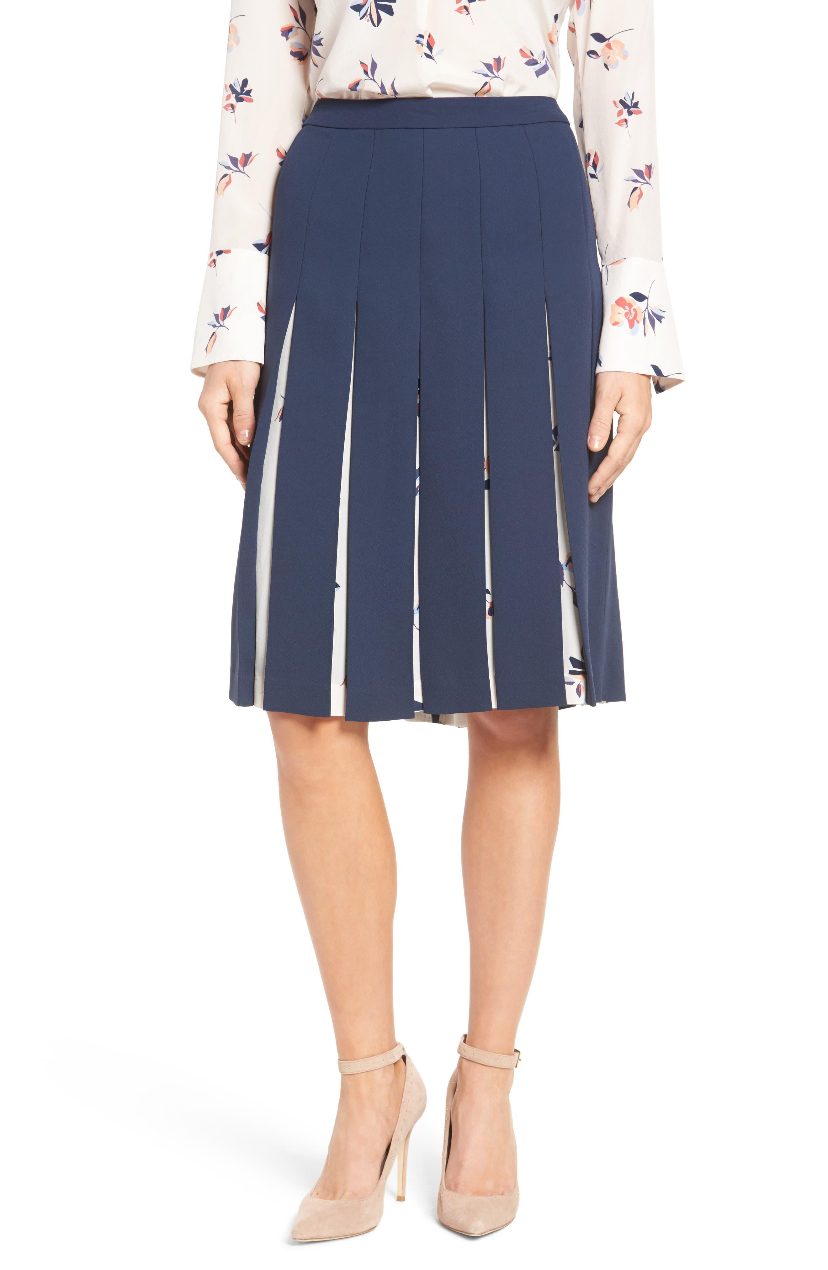 Print Mix Pleated Skirt,                             Main thumbnail 1, color,                             410