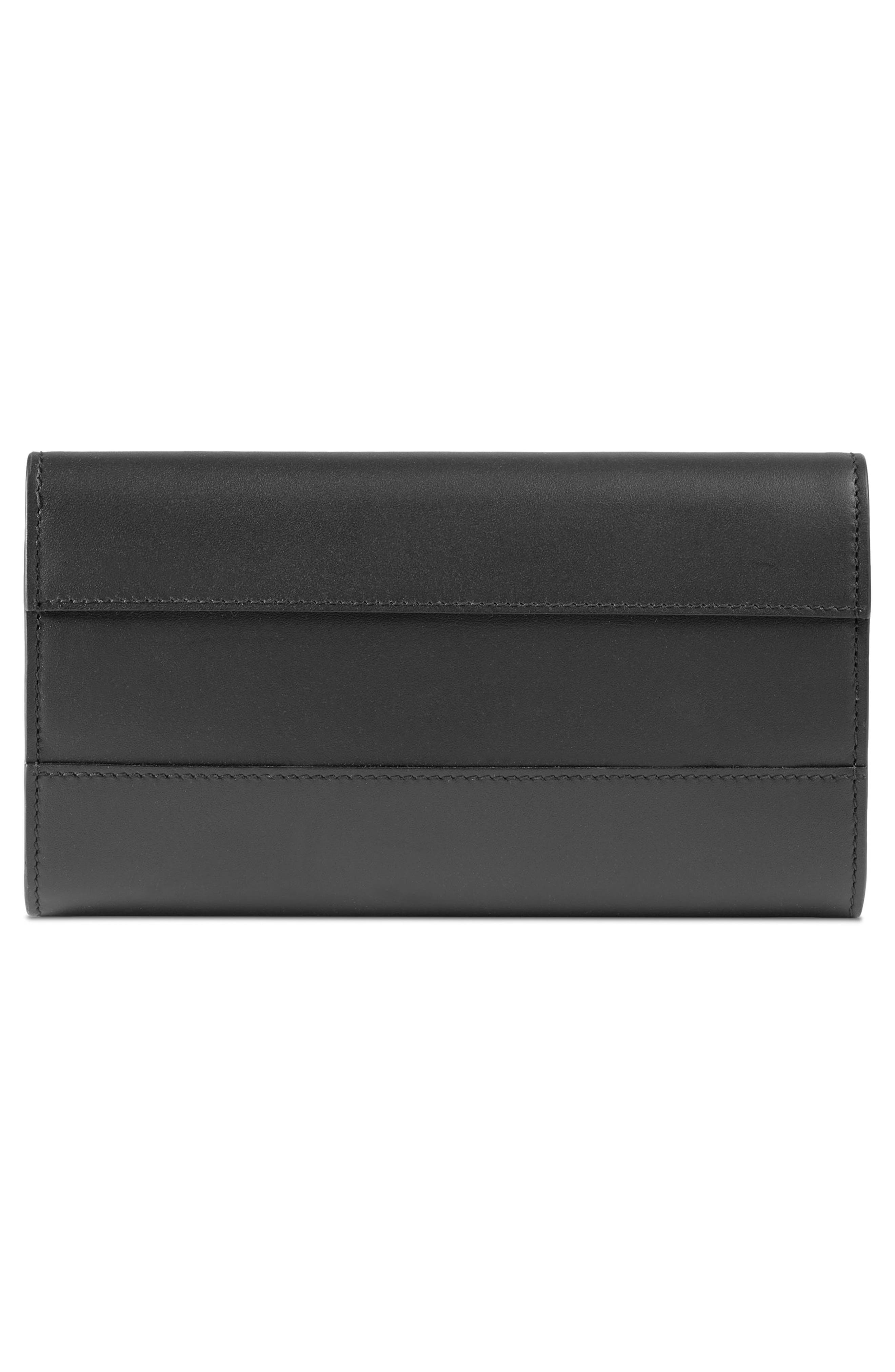 Queen Margaret Leather Flap Wallet,                             Alternate thumbnail 3, color,                             NERO/ NERO/ RUBY