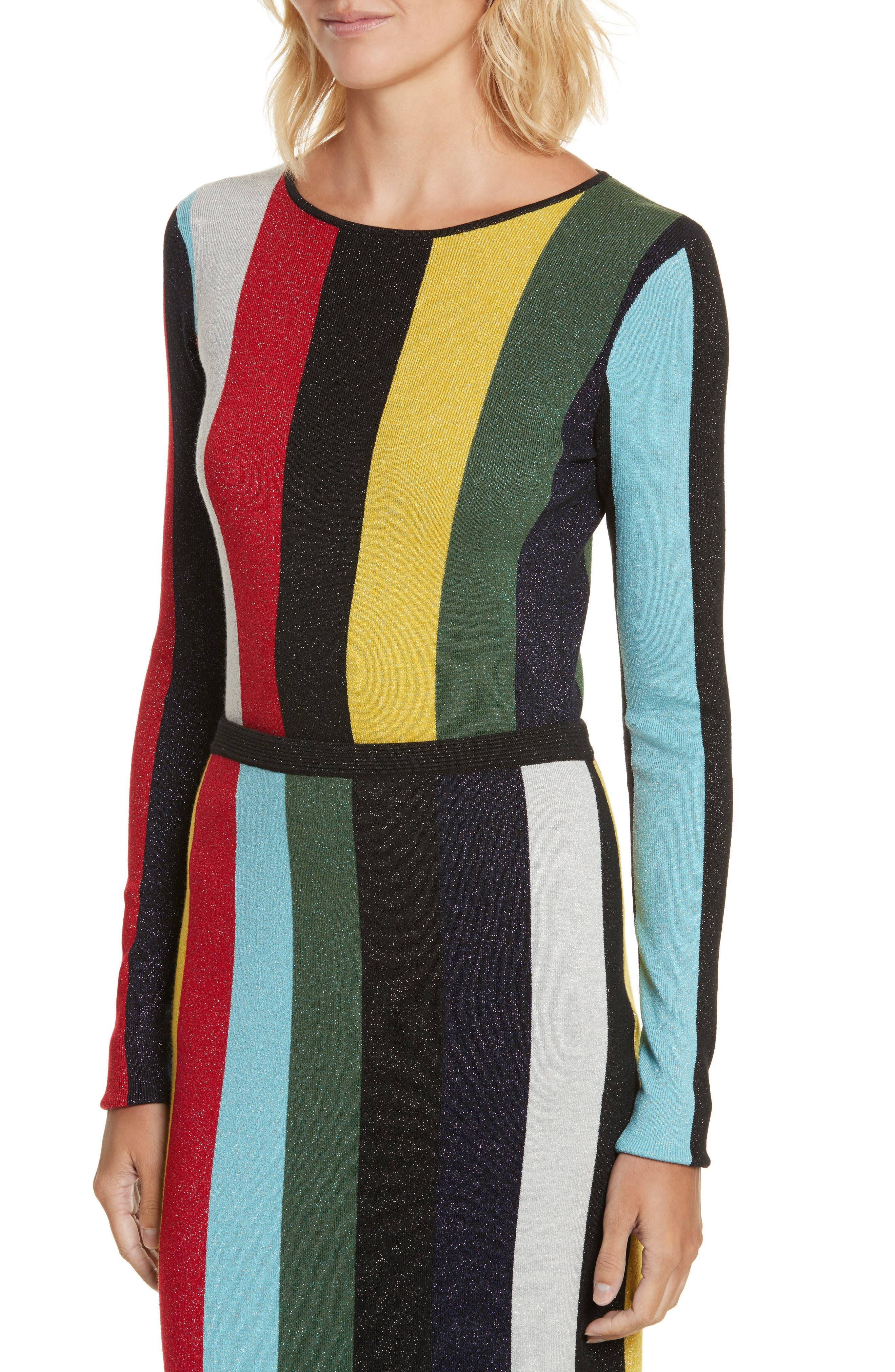Diane von Furstenberg Metallic Stripe Sweater,                             Alternate thumbnail 4, color,                             008