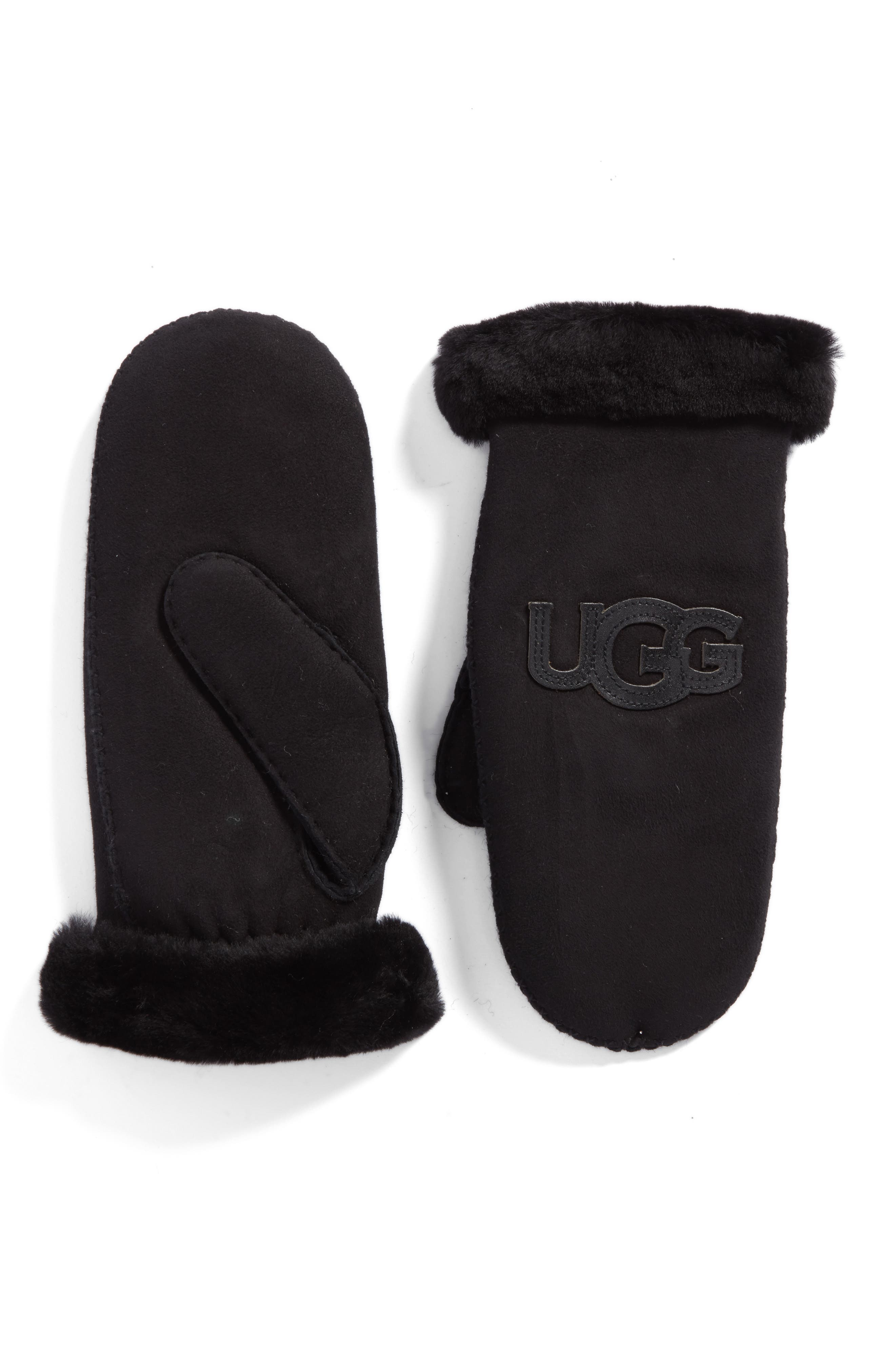 Heritage Logo Genuine Shearling Mittens,                         Main,                         color, 001