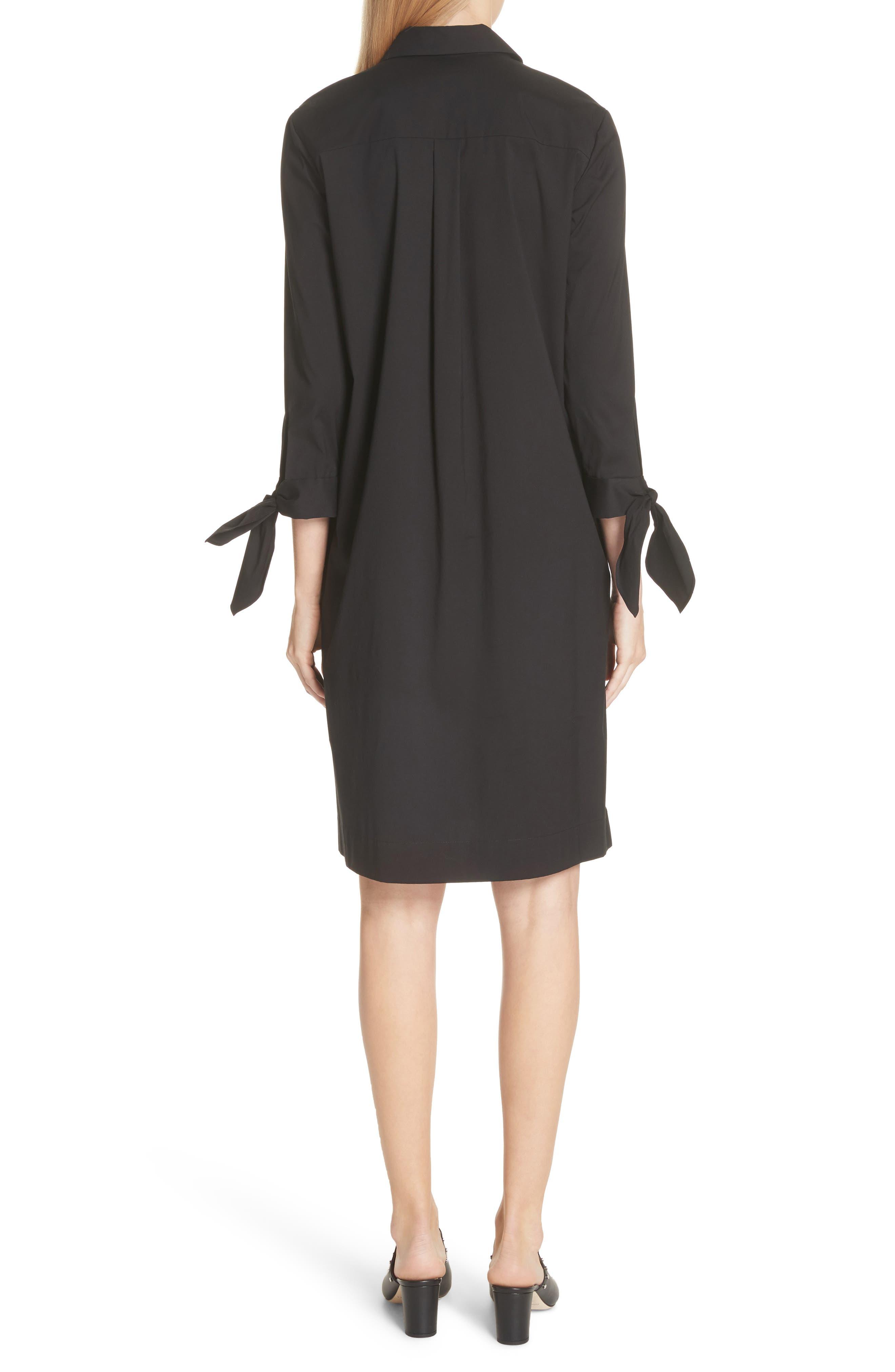 Talia Stretch Cotton Blend Dress,                             Alternate thumbnail 2, color,                             BLACK