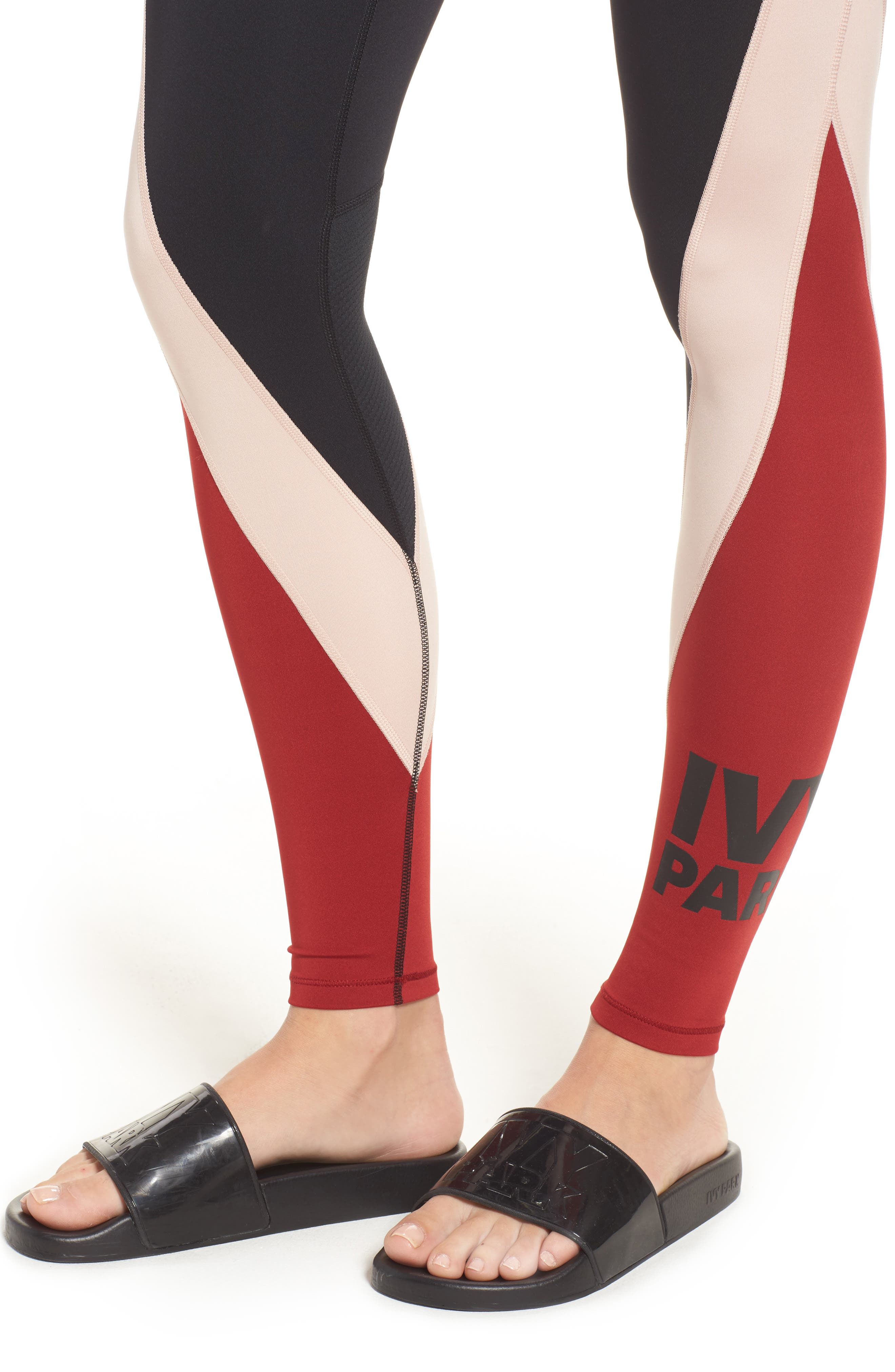 Colorblock Mid Rise Ankle Leggings,                             Alternate thumbnail 4, color,