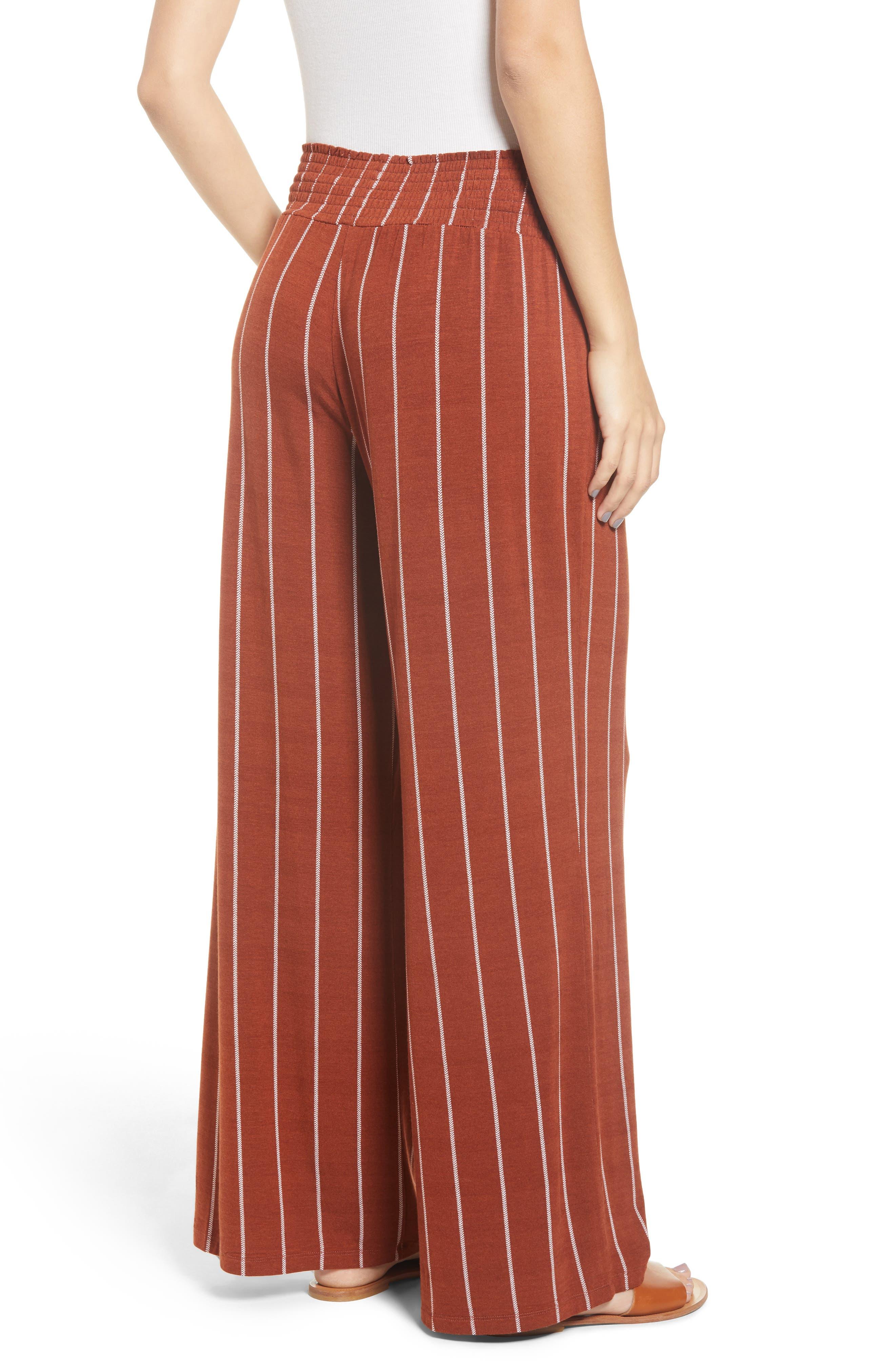 Stripe Knit Wide Leg Pants,                             Alternate thumbnail 2, color,                             SEQUOIA