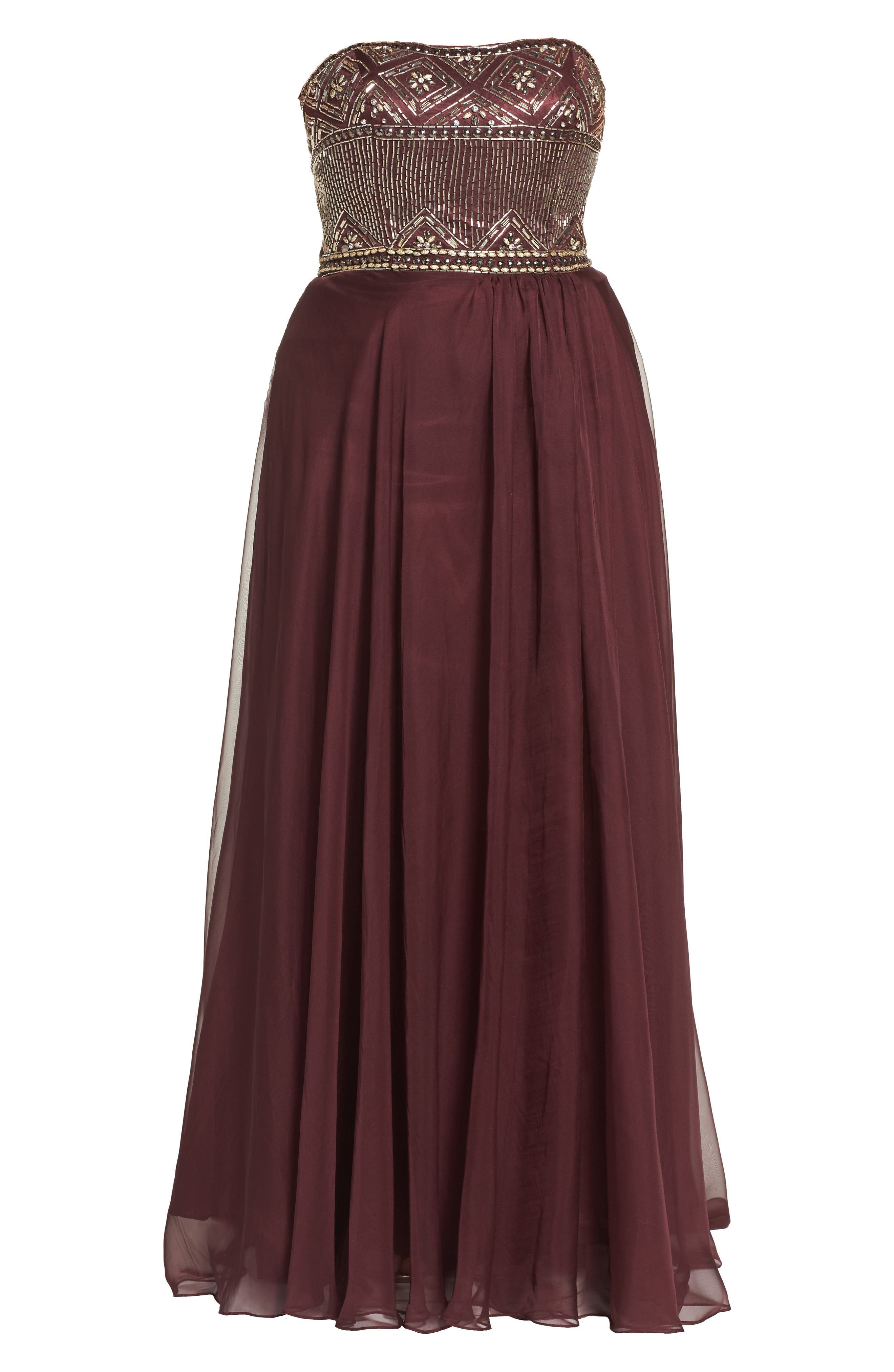 Beaded Bodice Strapless Chiffon Gown,                             Alternate thumbnail 6, color,                             601