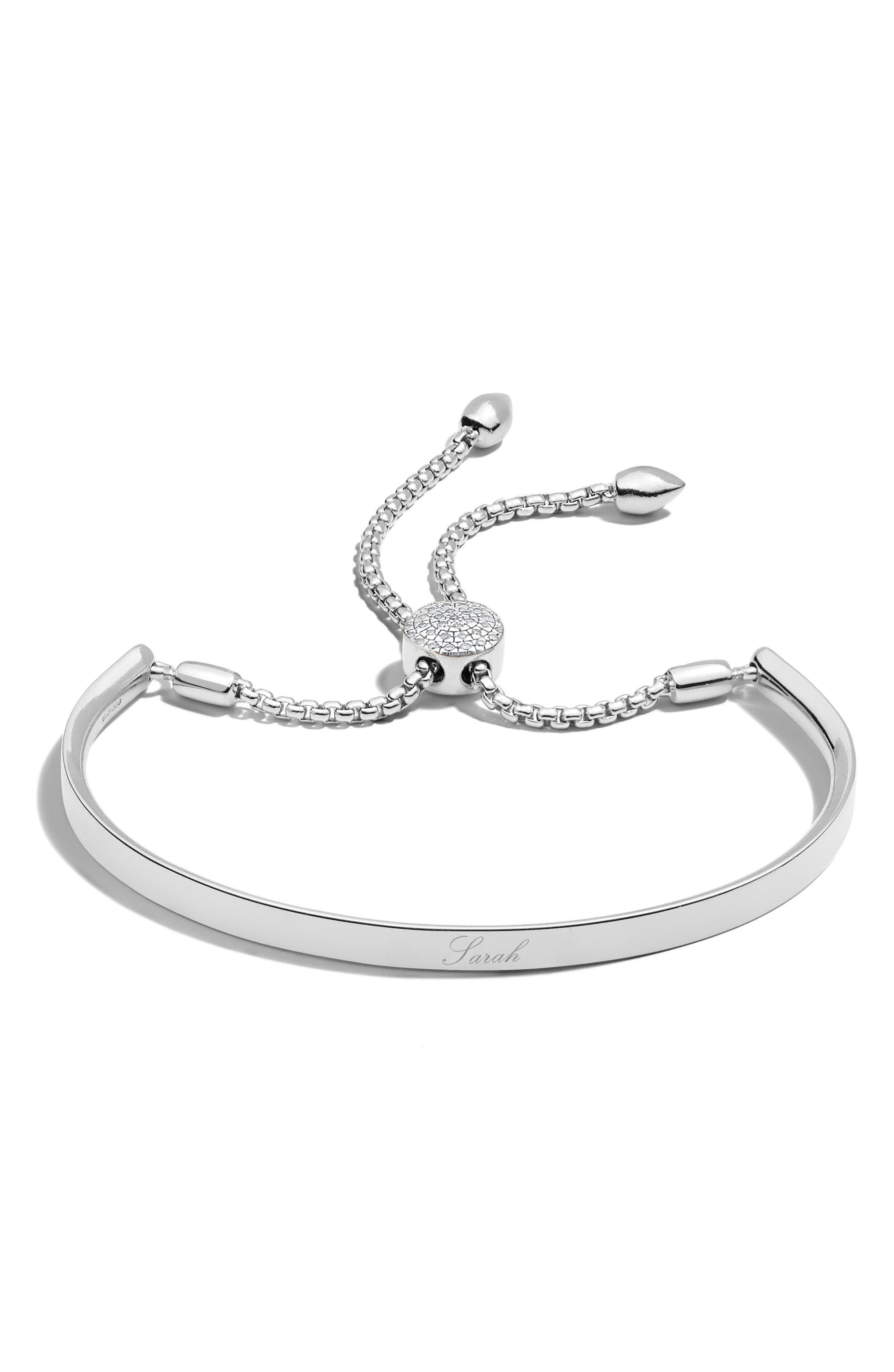 Engravable Fiji Diamond Toggle Bracelet,                             Alternate thumbnail 2, color,                             SILVER/ DIAMOND