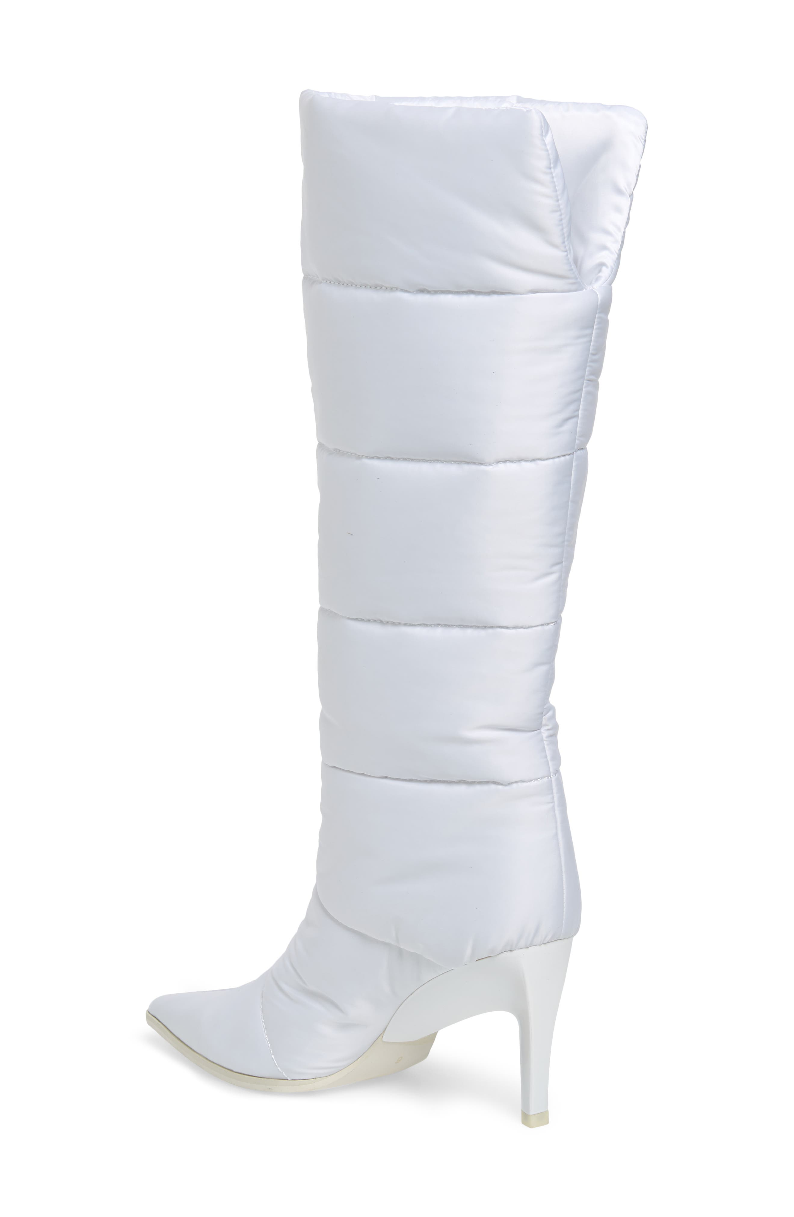 Apris Knee High Puffer Boot,                             Alternate thumbnail 2, color,                             WHITE FABRIC