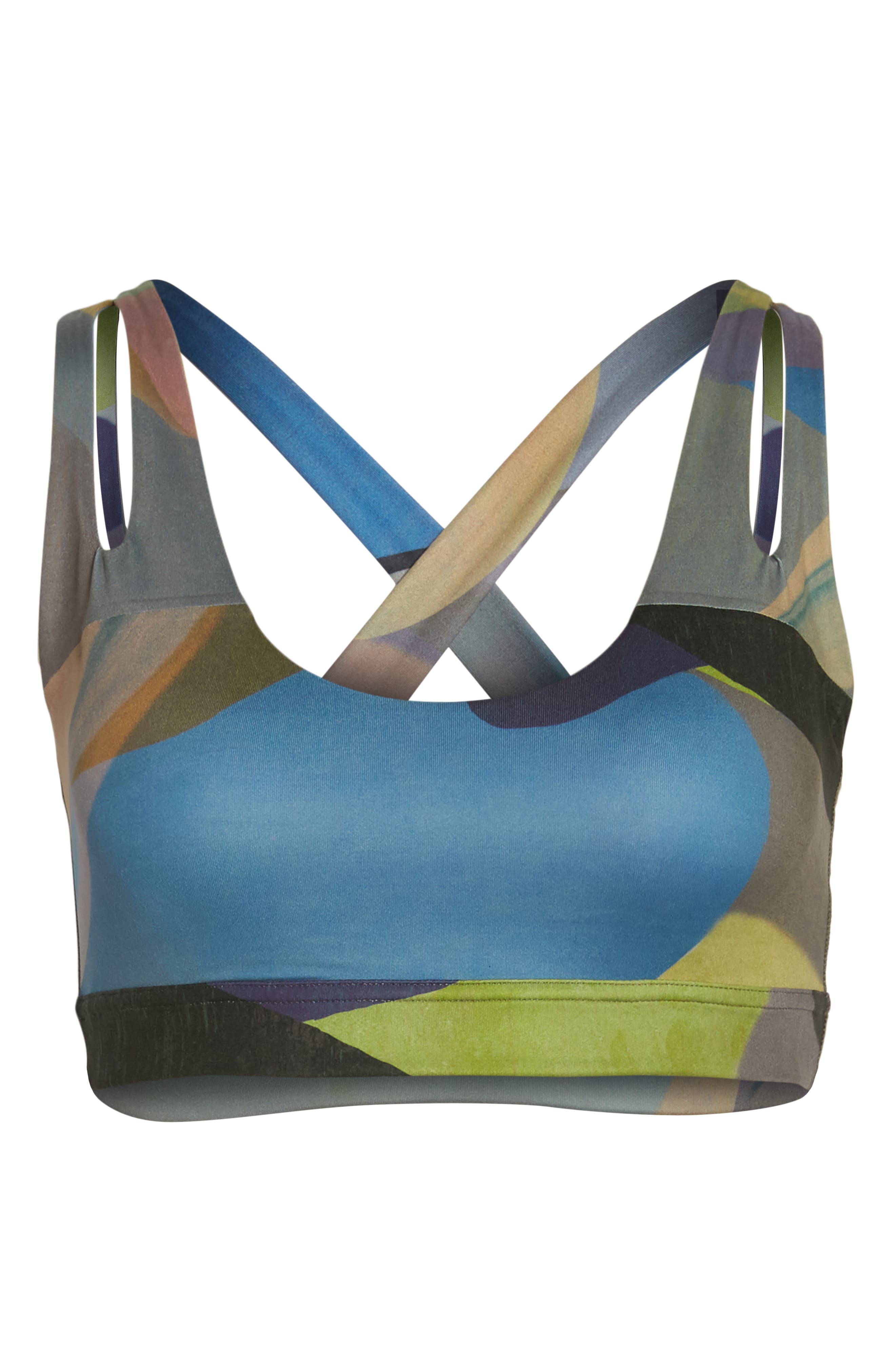 Lita Recycled Dual Strap Sports Bralette,                             Alternate thumbnail 6, color,                             GREY URBAN ABSTRACT BOTANICAL