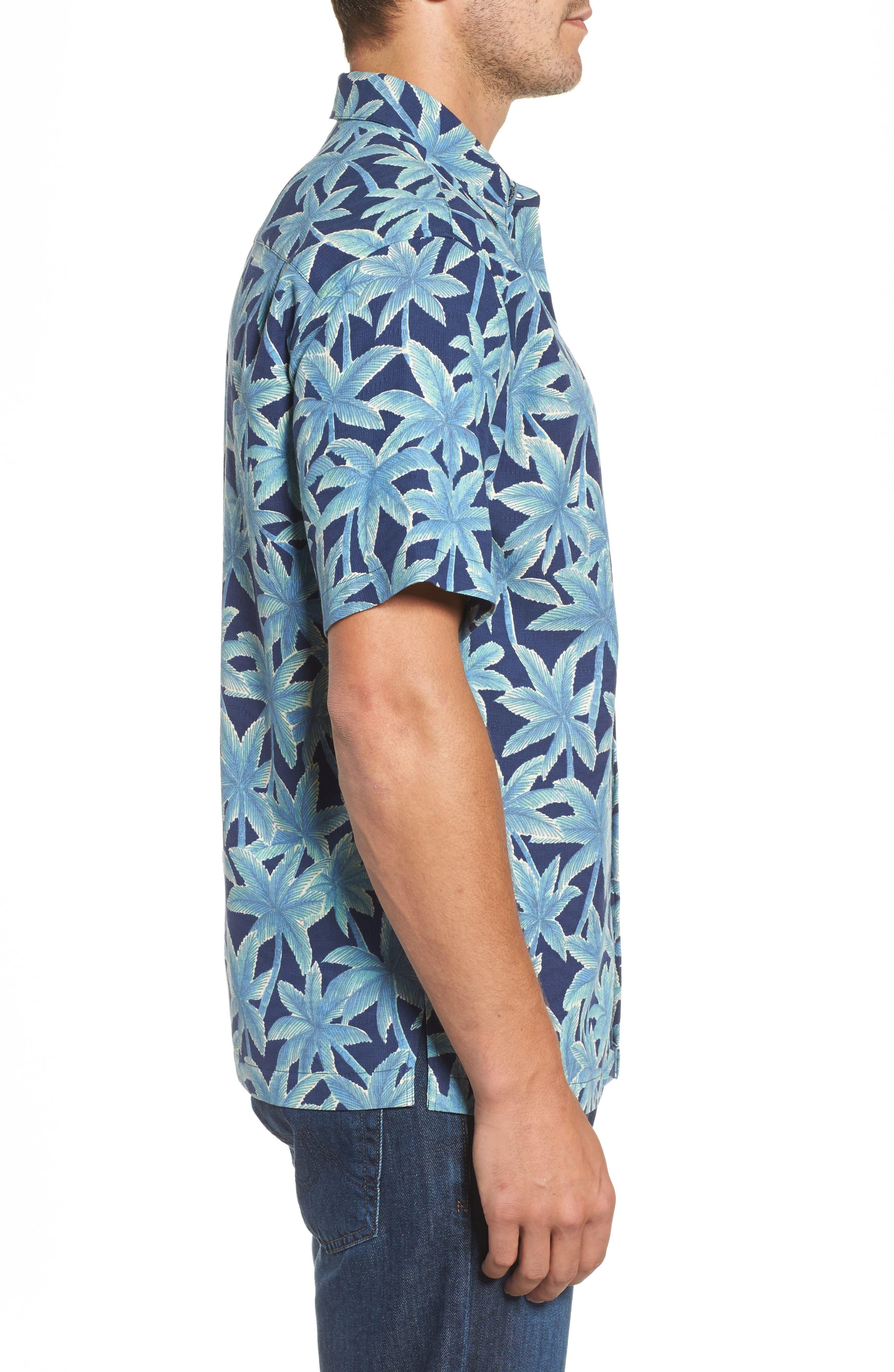 Elementree Classic Fit Silk Blend Camp Shirt,                             Alternate thumbnail 3, color,                             415