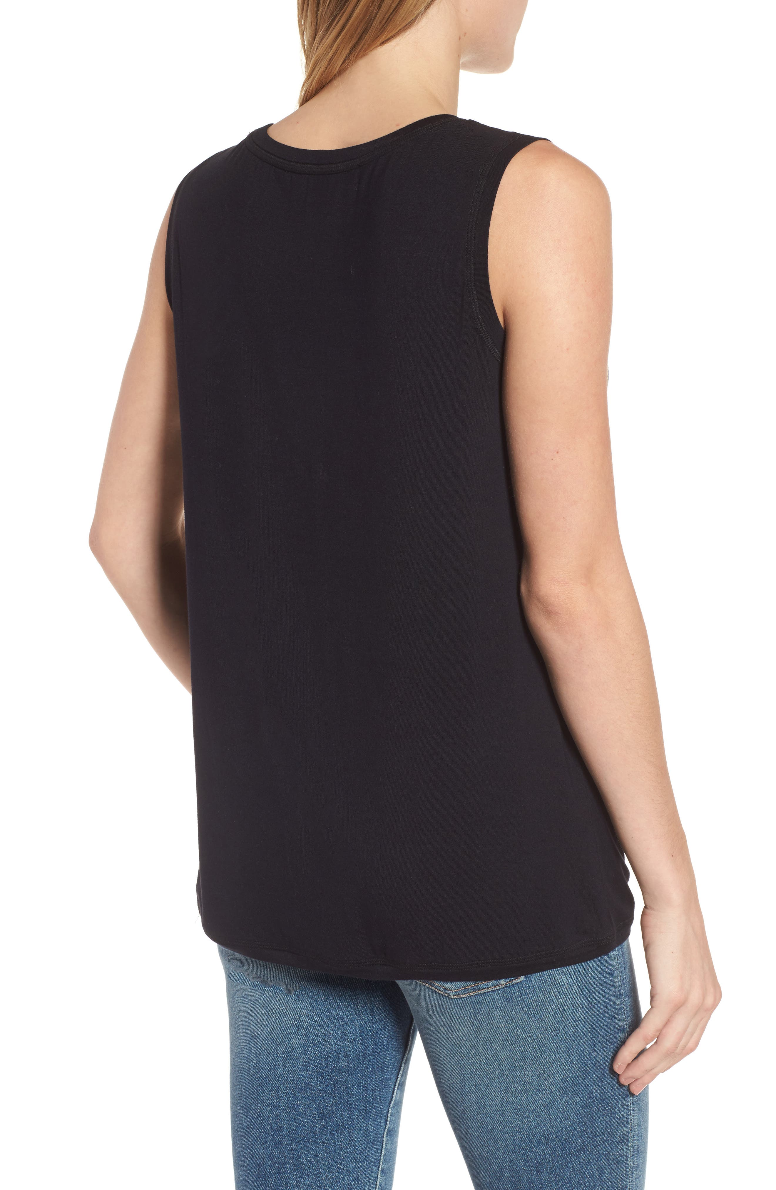 Off-Duty Shirred Sleeveless Tee,                             Alternate thumbnail 6, color,