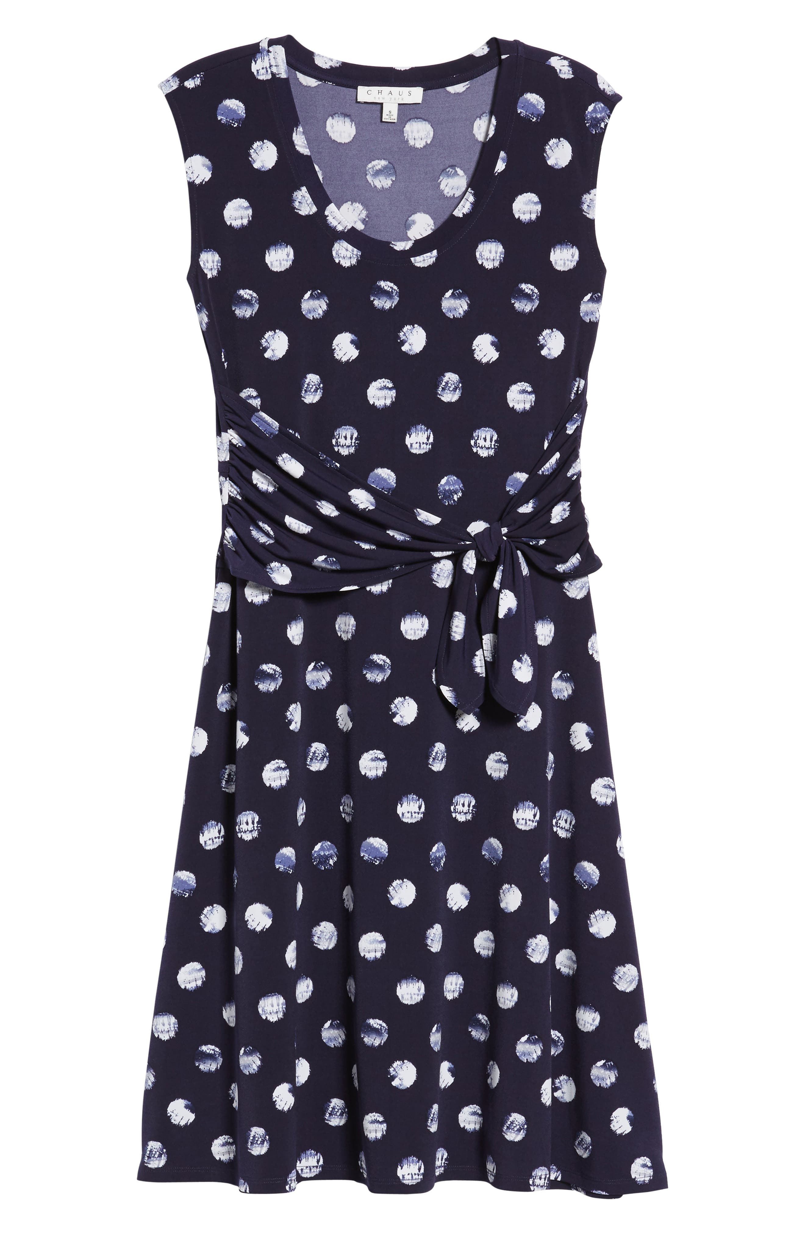 Tie Dye Dot A-Line Dress,                             Alternate thumbnail 7, color,                             EVENING NAVY