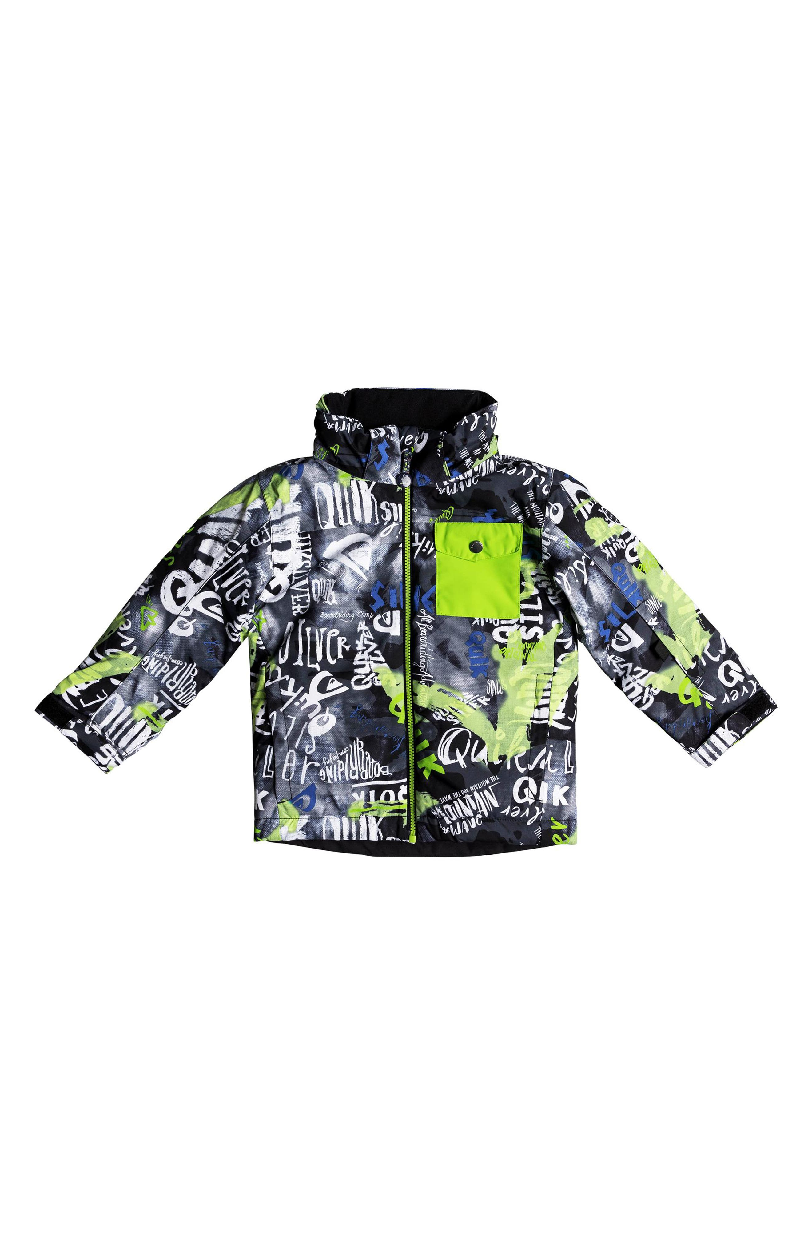 Little Mission Waterproof Hooded Jacket,                             Alternate thumbnail 4, color,                             BLACK CONSTRUCT
