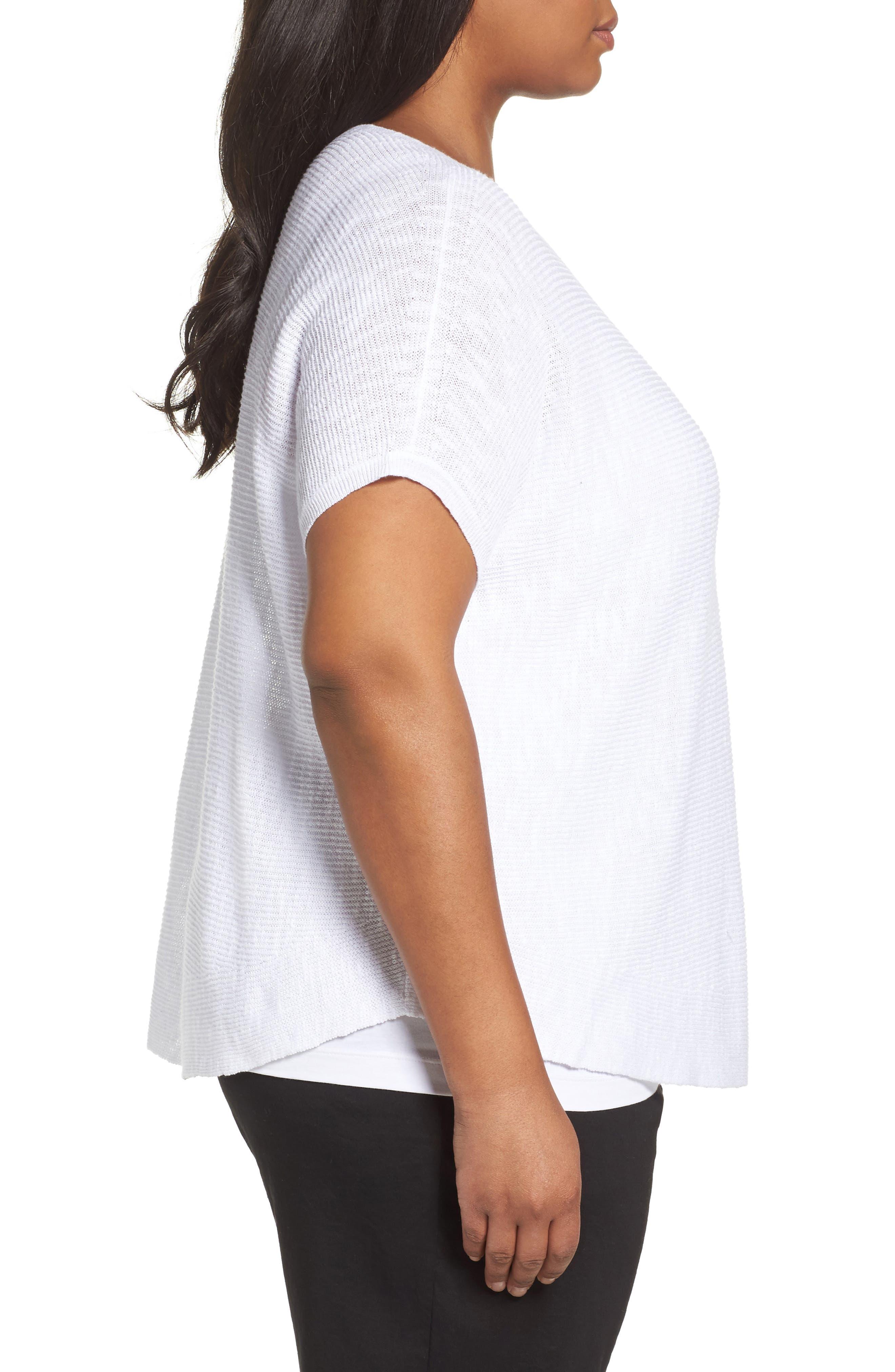 Organic Linen & Cotton Rib Sweater,                             Alternate thumbnail 3, color,                             100