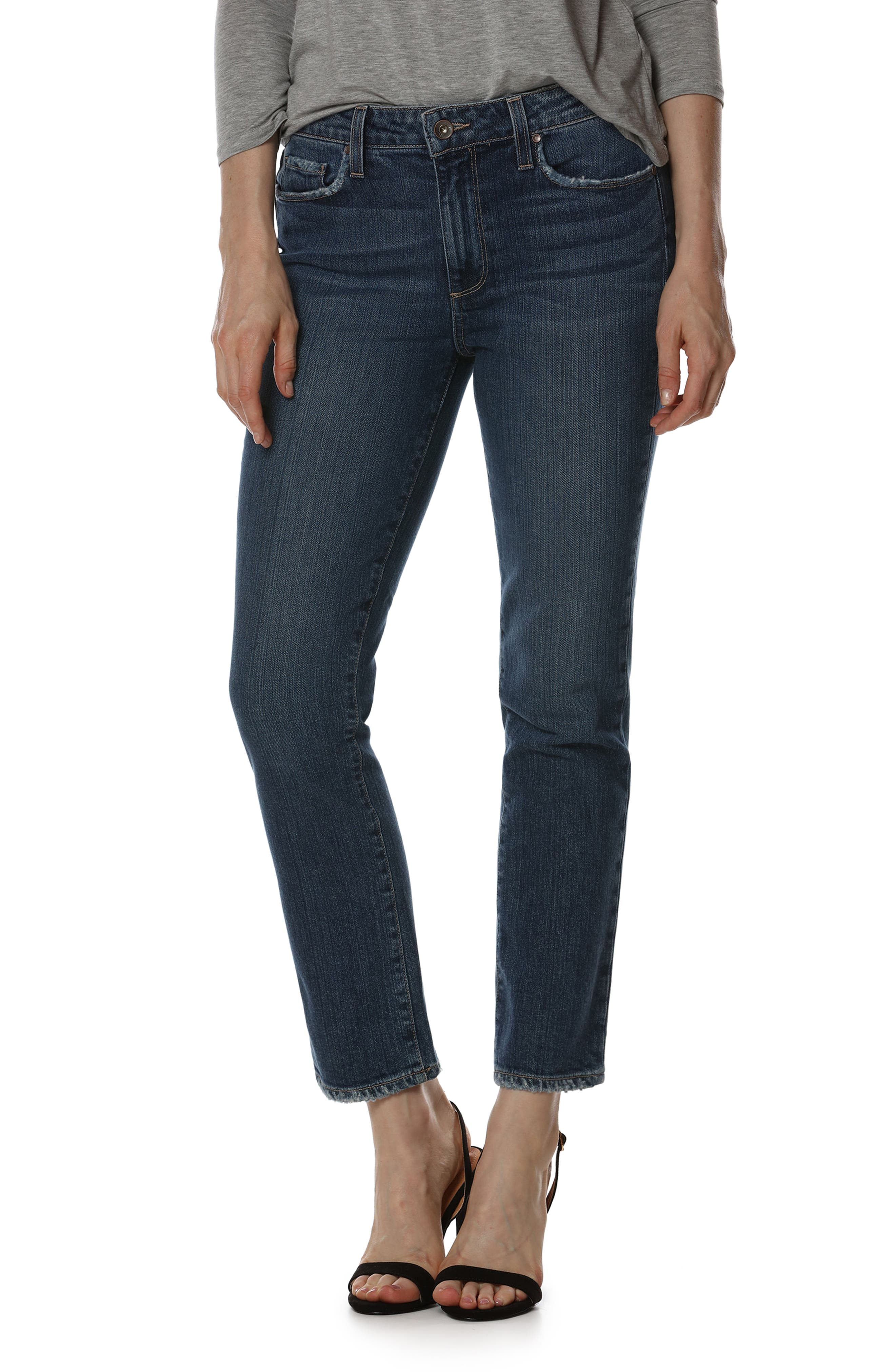 Jacqueline High Waist Ankle Straight Leg Jeans,                             Main thumbnail 2, color,