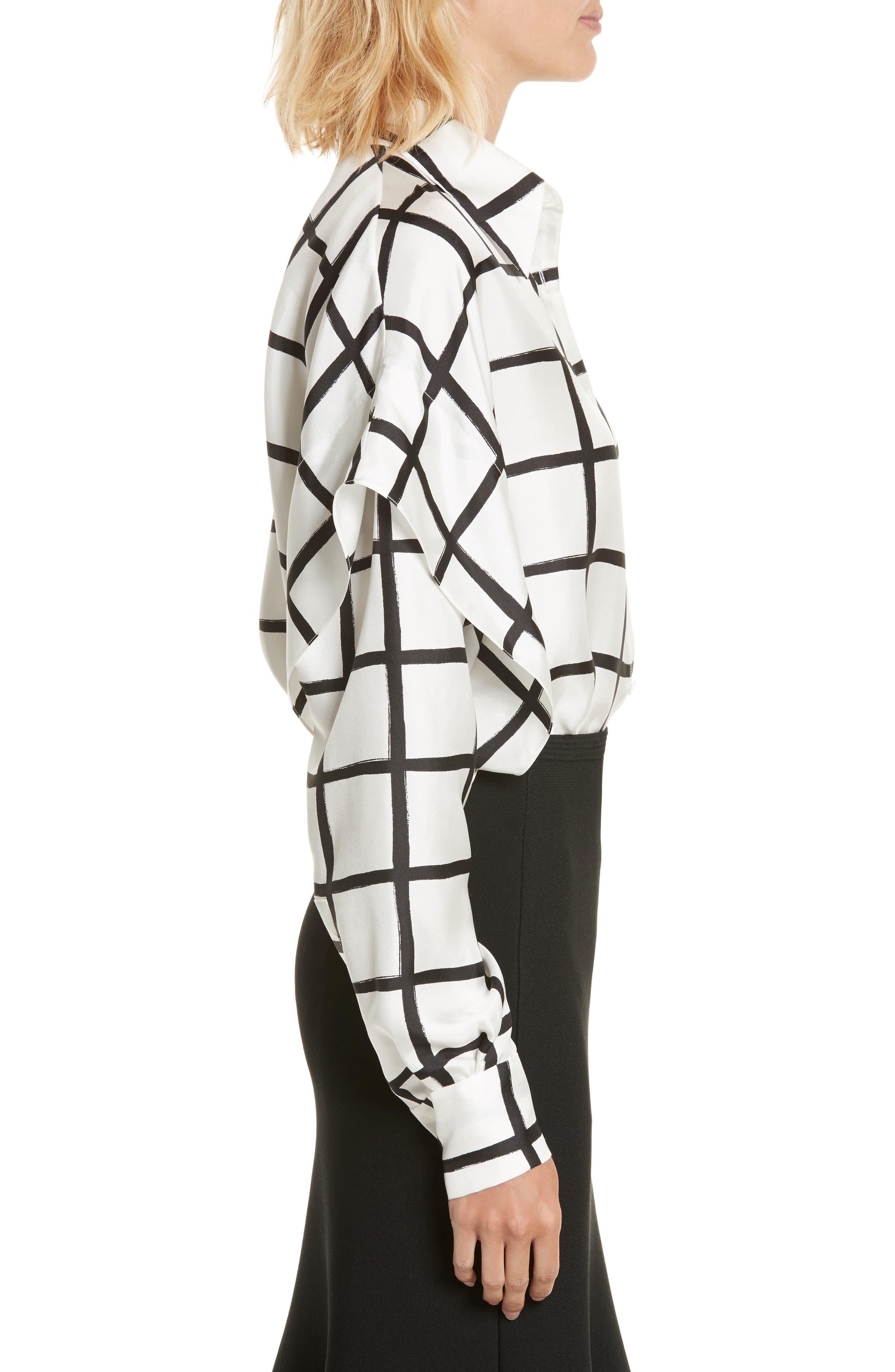 Diane von Furstenberg Windowpane Plaid Button Down Silk Shirt,                             Alternate thumbnail 3, color,                             178