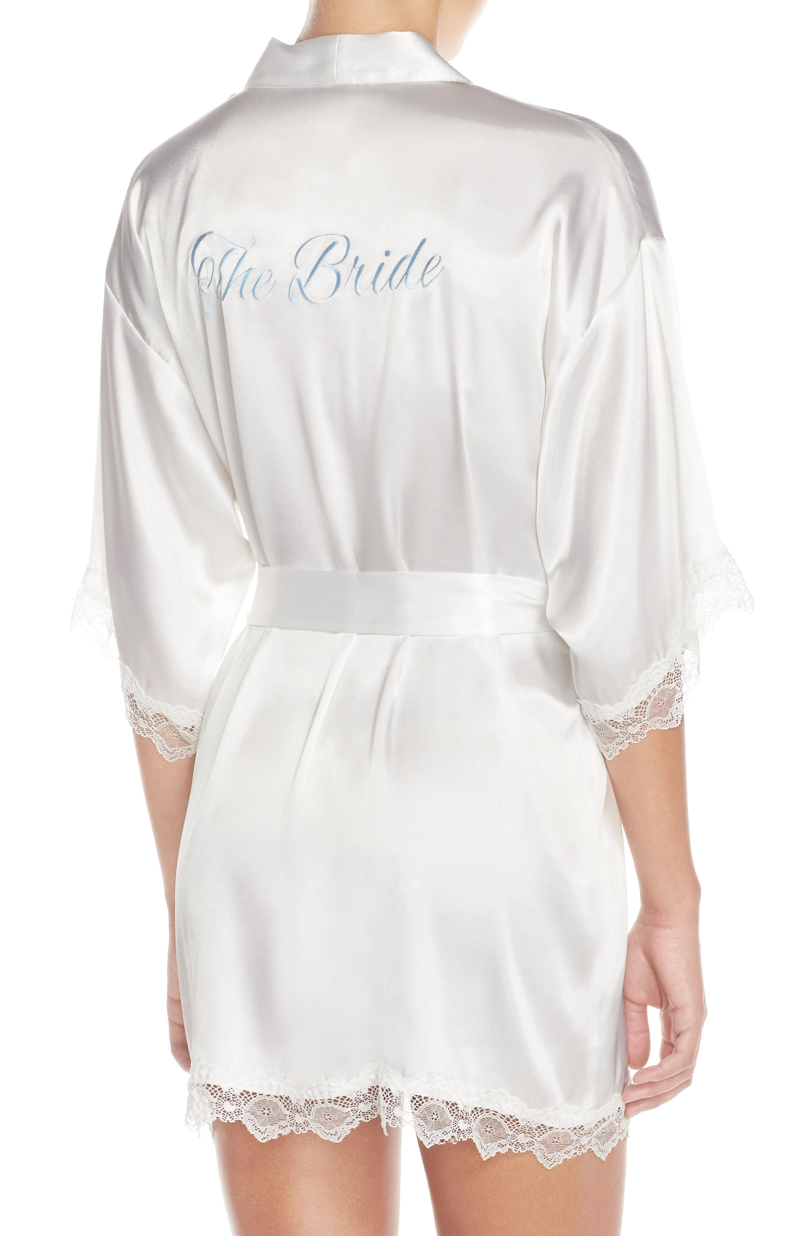 IN BLOOM BY JONQUIL,                             The Bride Short Satin Wrap,                             Alternate thumbnail 2, color,                             WHITE