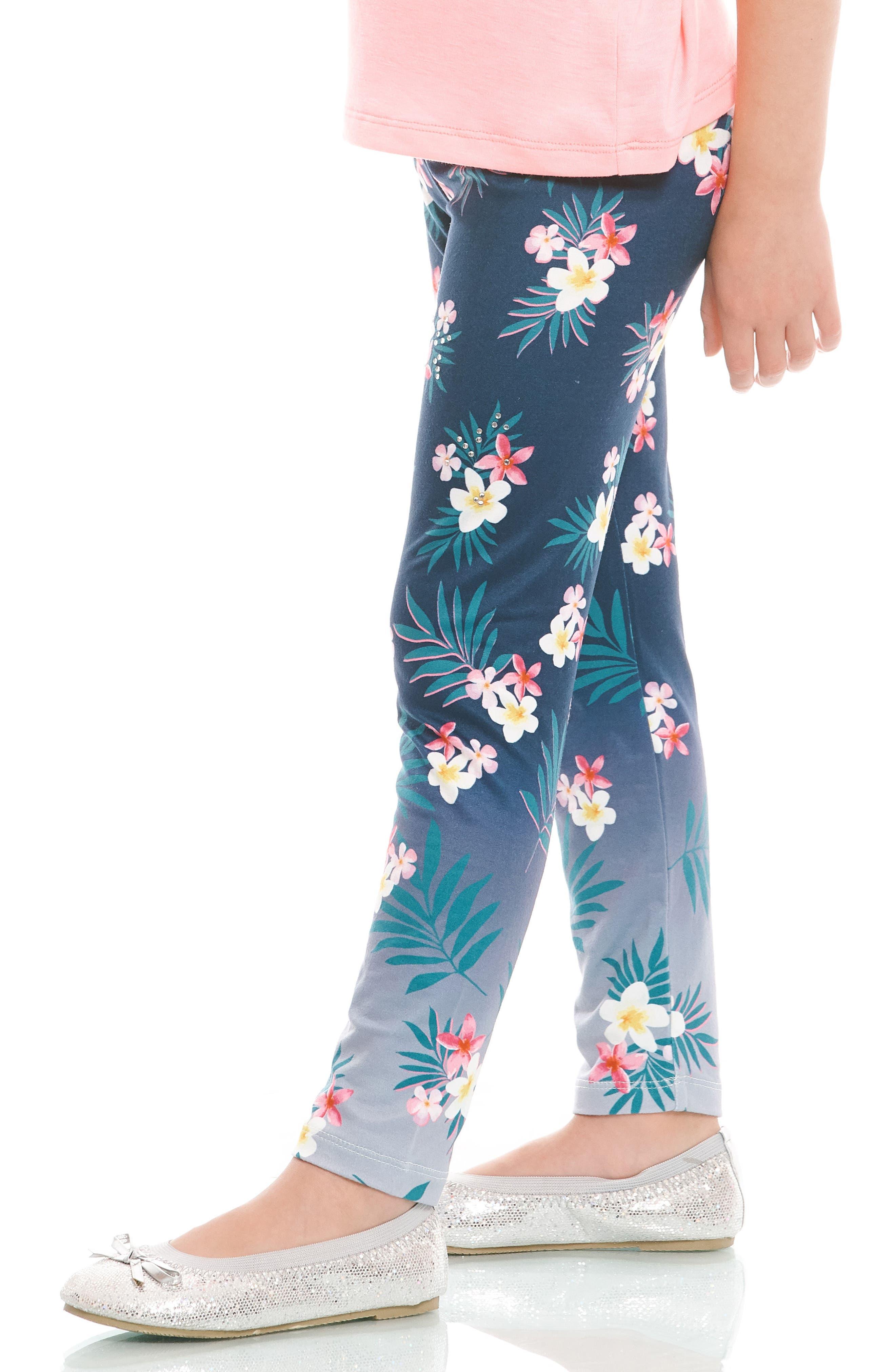 Embellished Floral Print Leggings,                             Alternate thumbnail 5, color,                             418