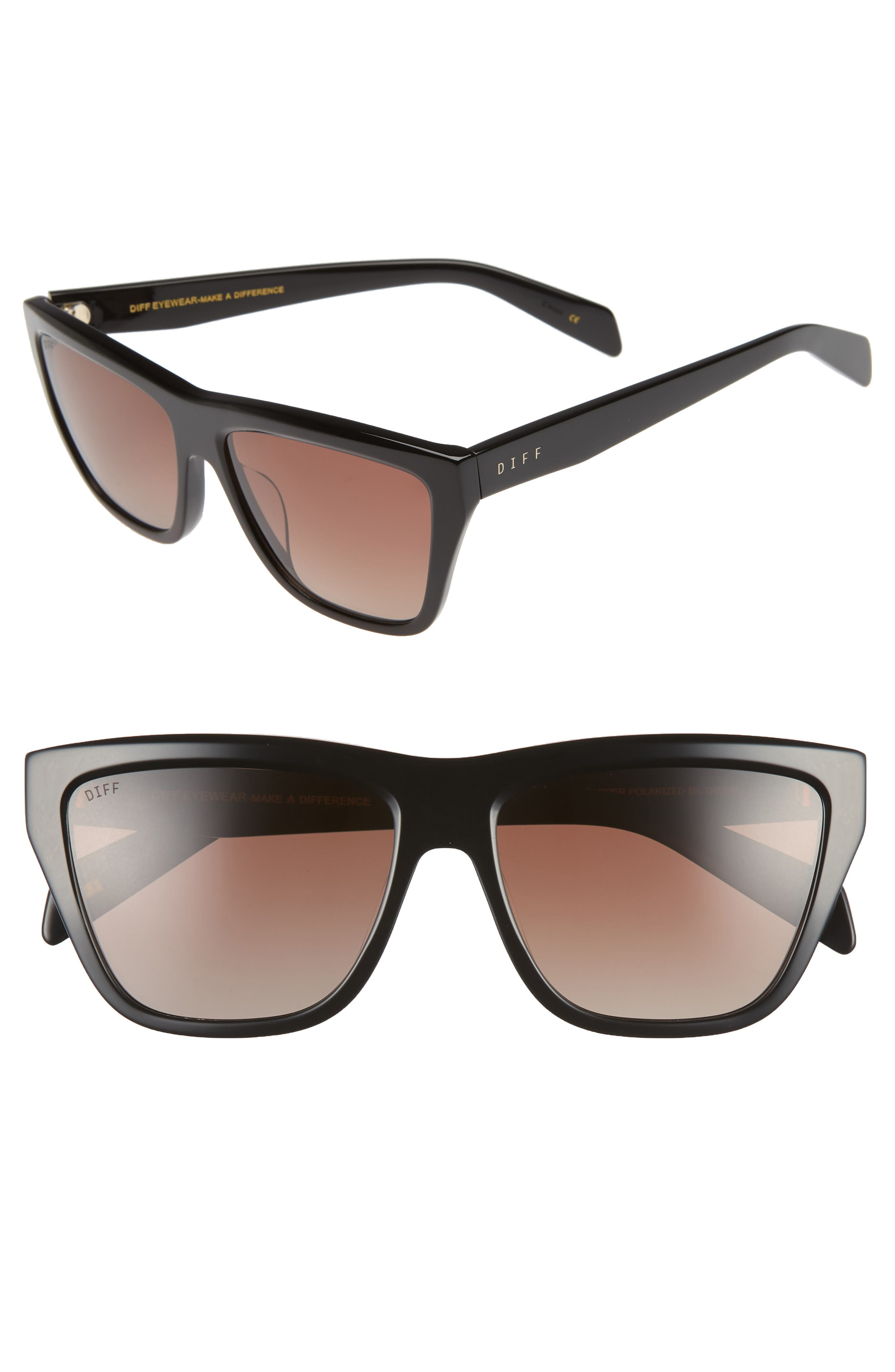 Harper 57mm Polarized Gradient Sunglasses,                             Main thumbnail 1, color,                             BLACK/ BROWN