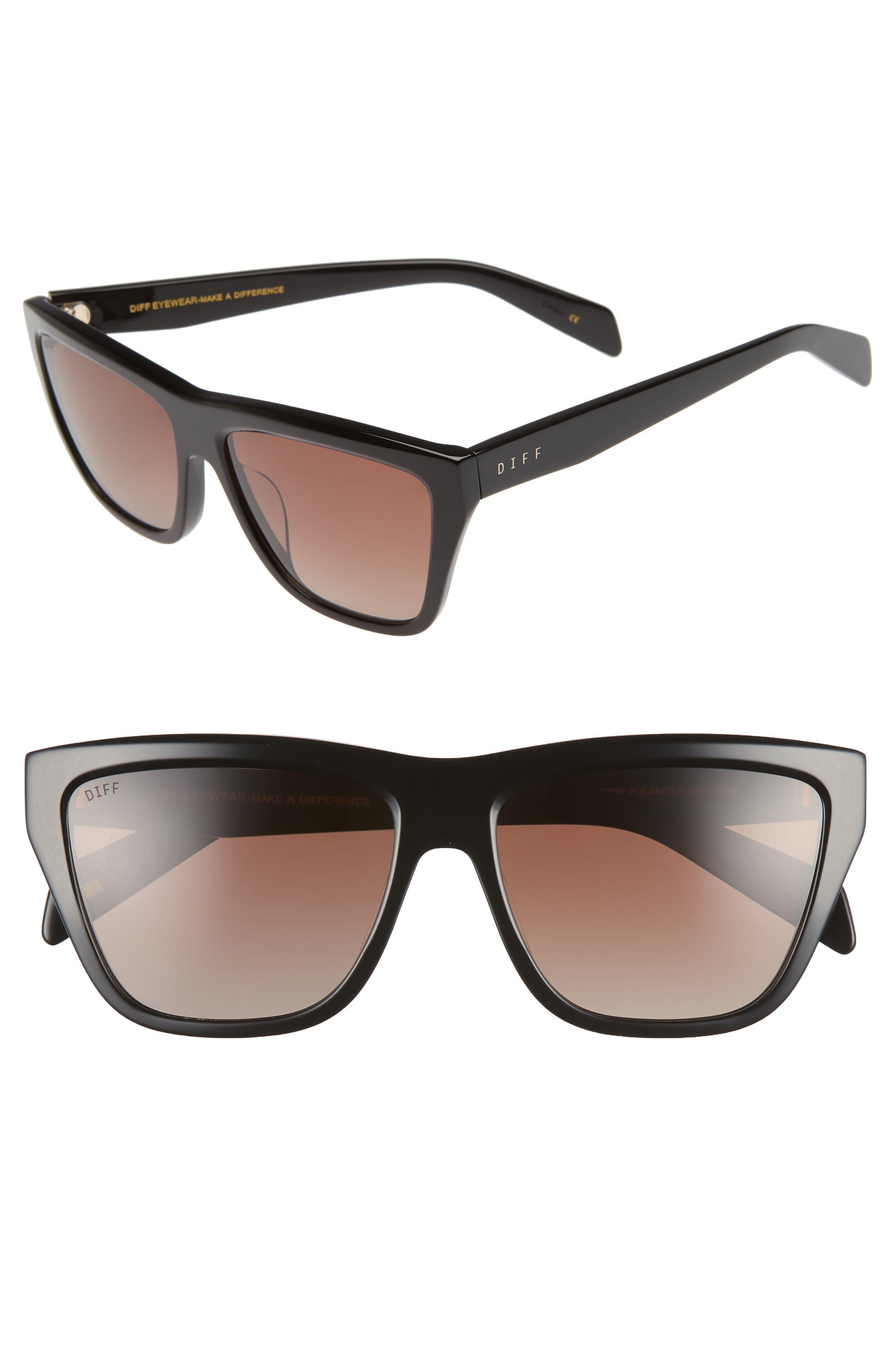 Harper 57mm Polarized Gradient Sunglasses,                         Main,                         color, BLACK/ BROWN