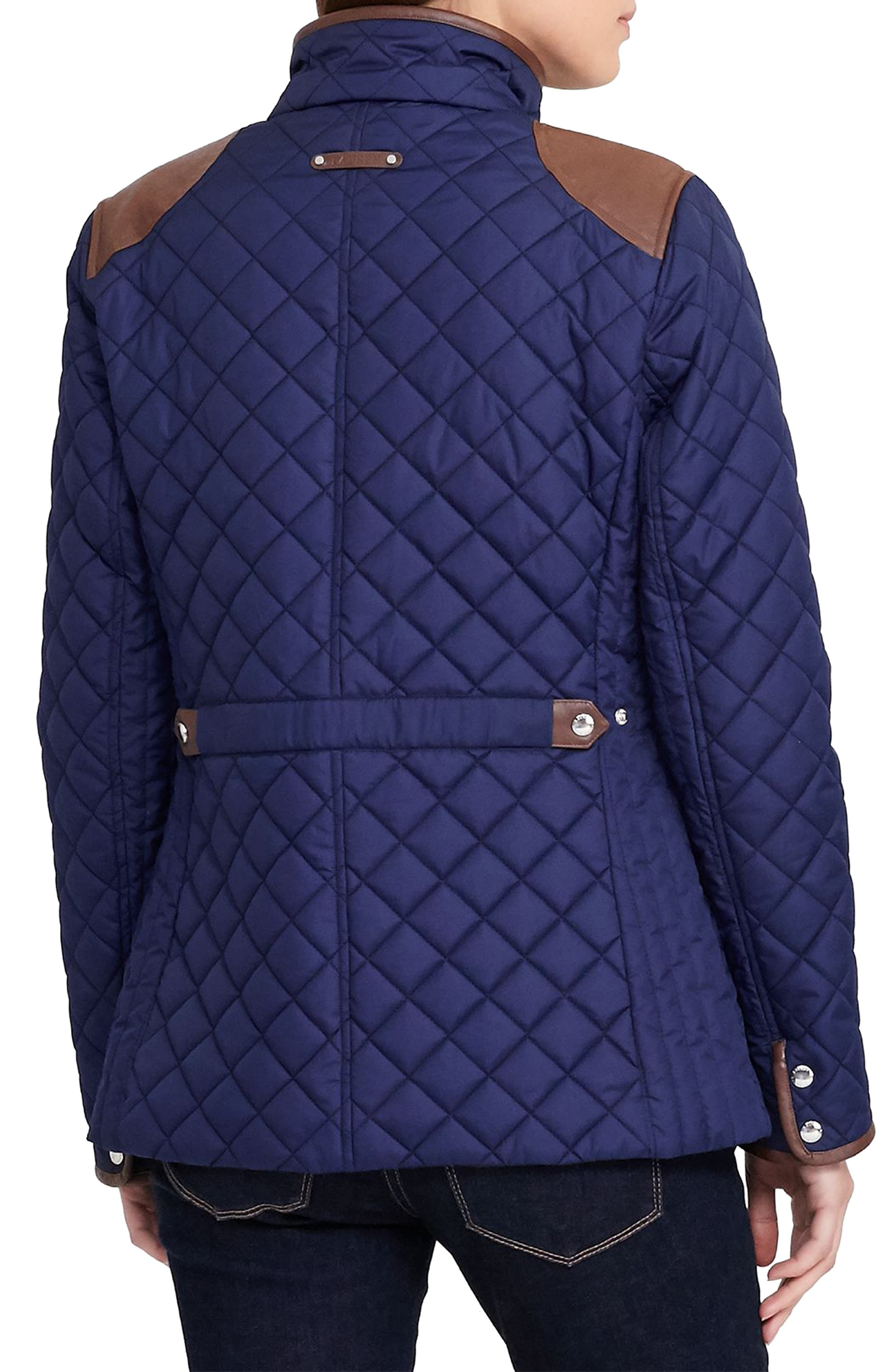 Faux Leather Trim Quilted Jacket,                             Alternate thumbnail 13, color,