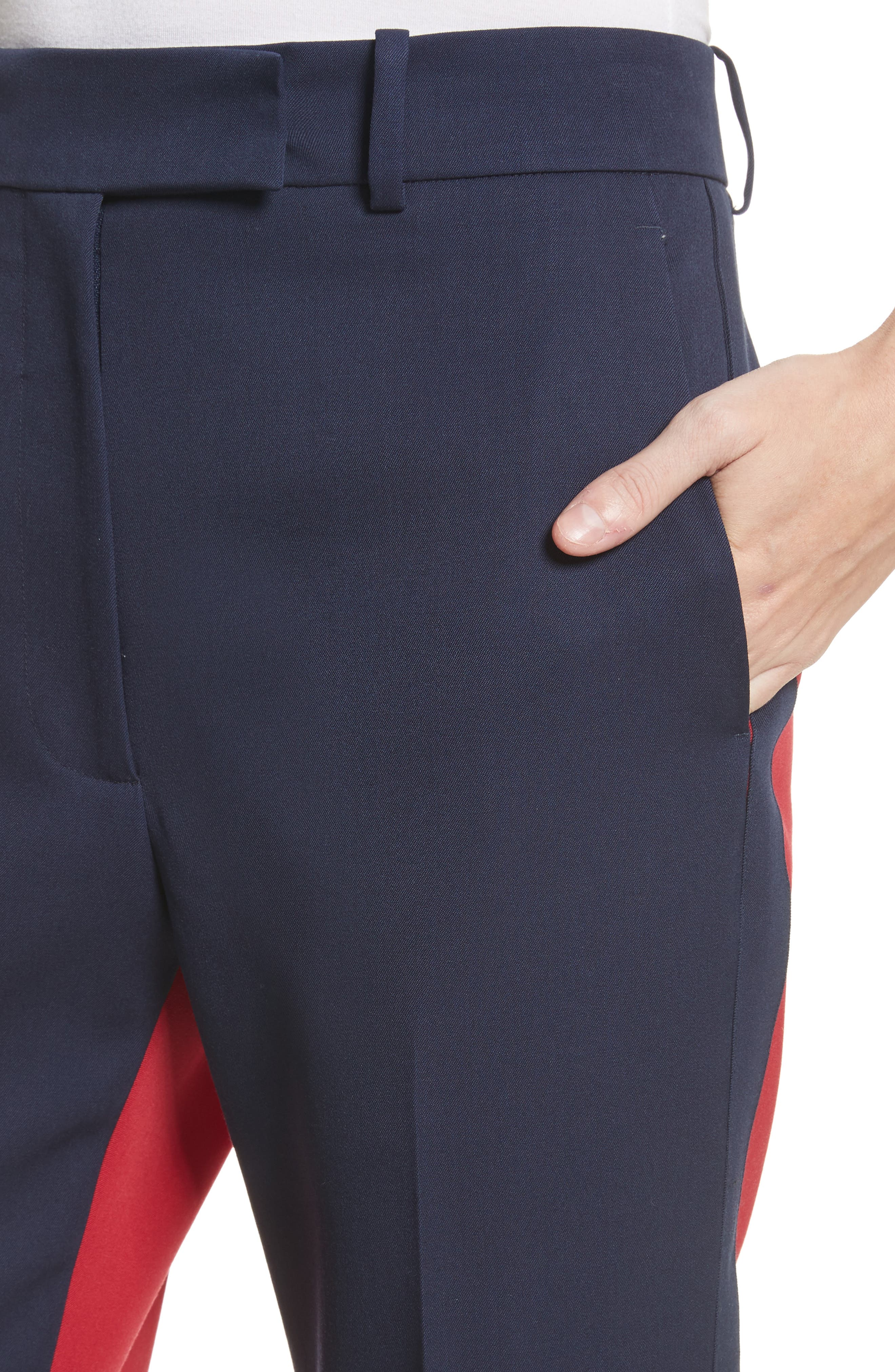 Colorblock Wool Trousers,                             Alternate thumbnail 4, color,