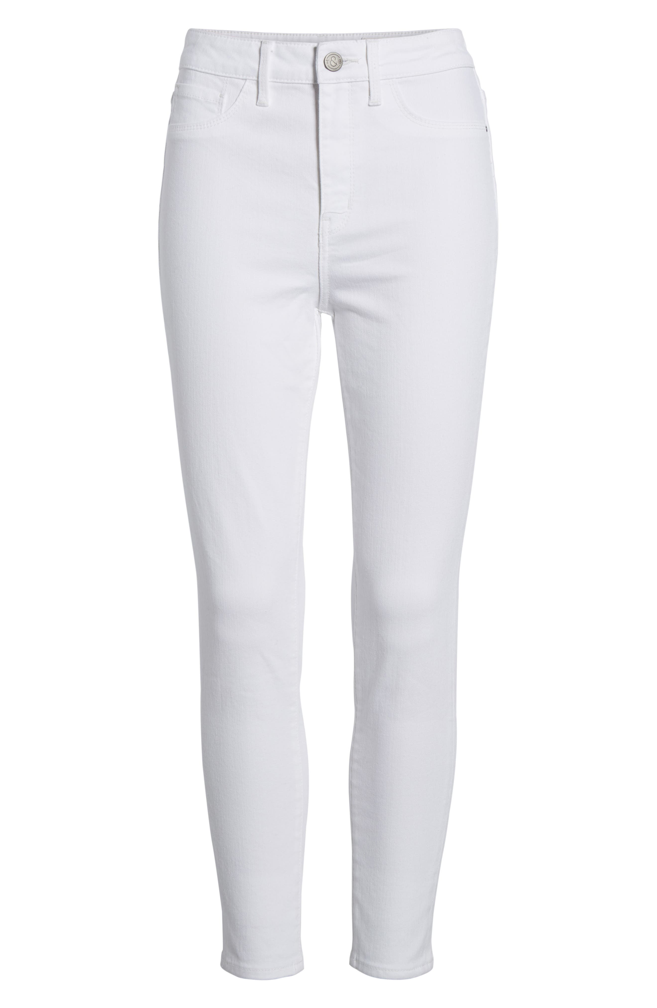 Charity High Waist Crop Skinny Jeans,                             Alternate thumbnail 7, color,                             100