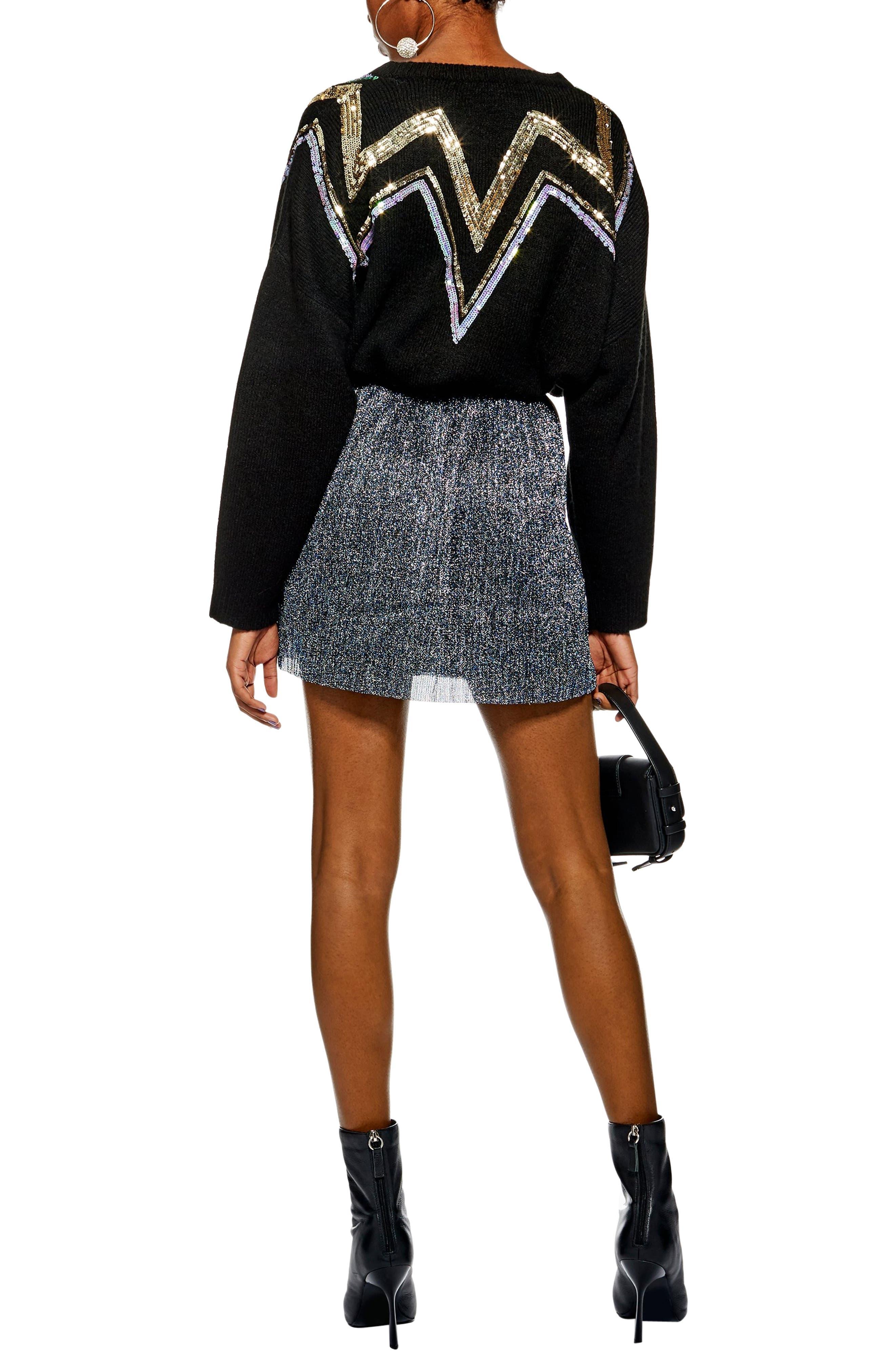 Metallic Plissé Miniskirt,                             Alternate thumbnail 2, color,                             BLUE MULTI