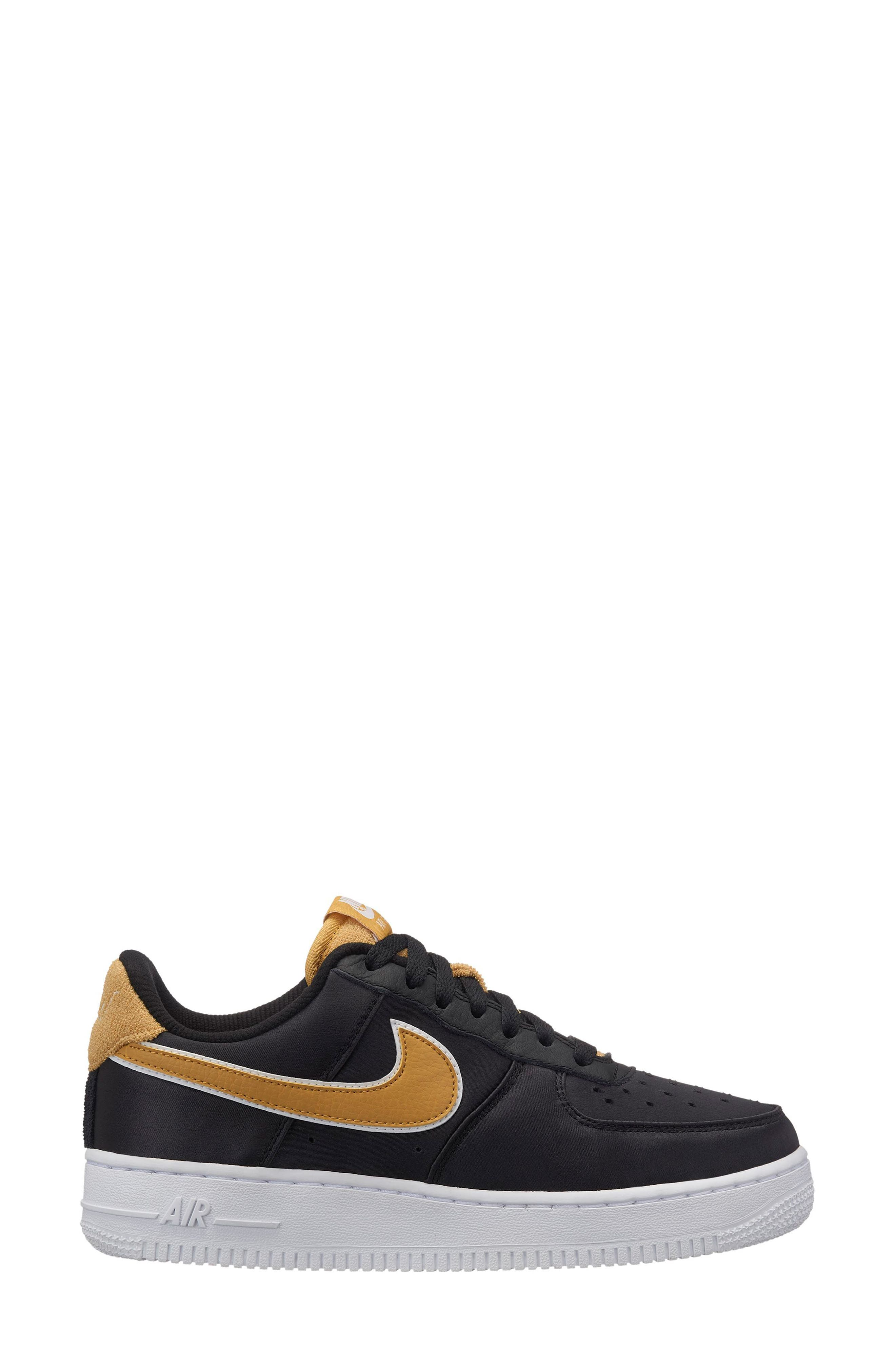 Air Force 1 '07 SE Sneaker,                         Main,                         color, BLACK/ WHEAT GOLD-WHITE