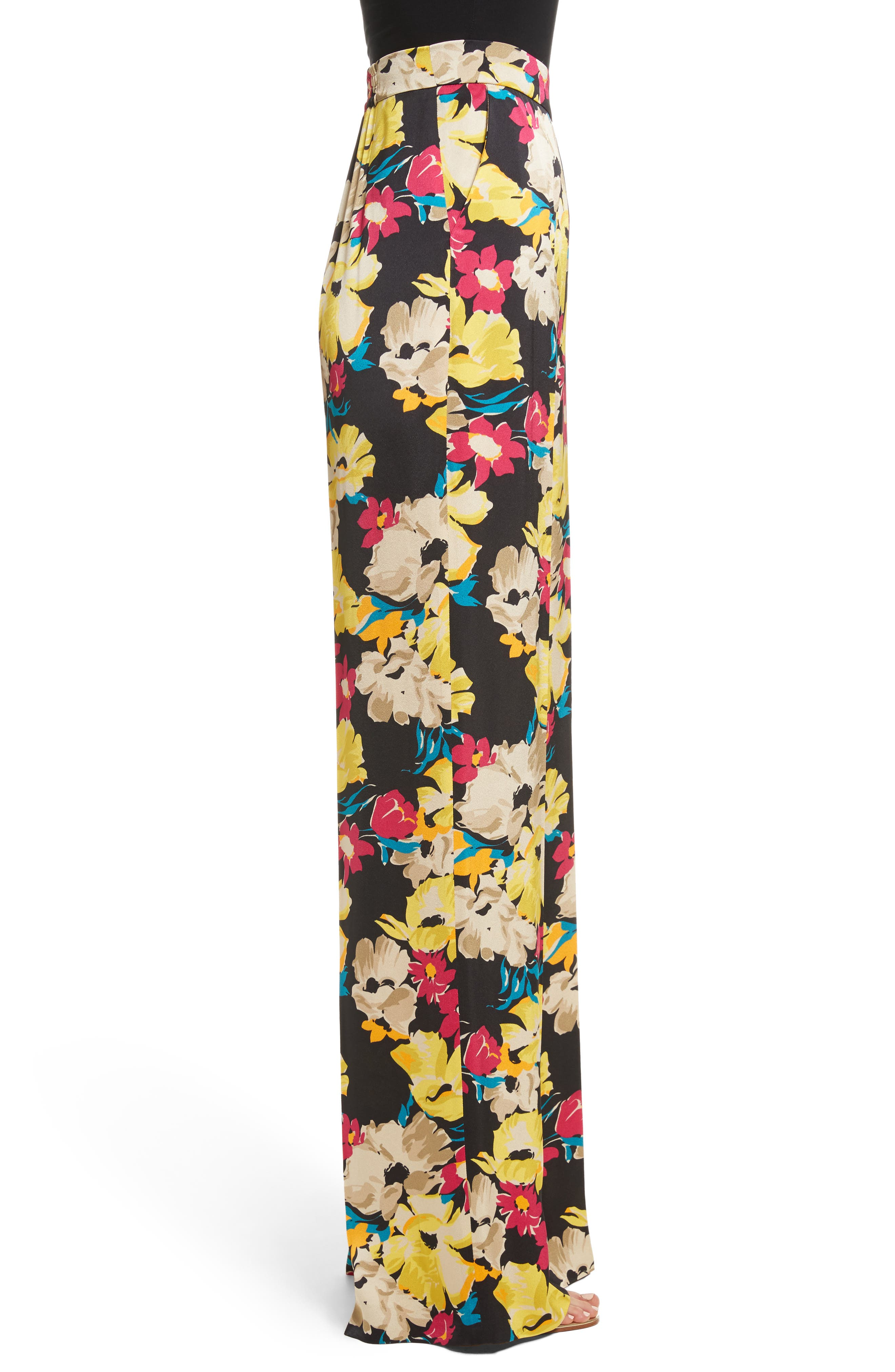 Floral Print Wide Leg Pants,                             Alternate thumbnail 3, color,                             001