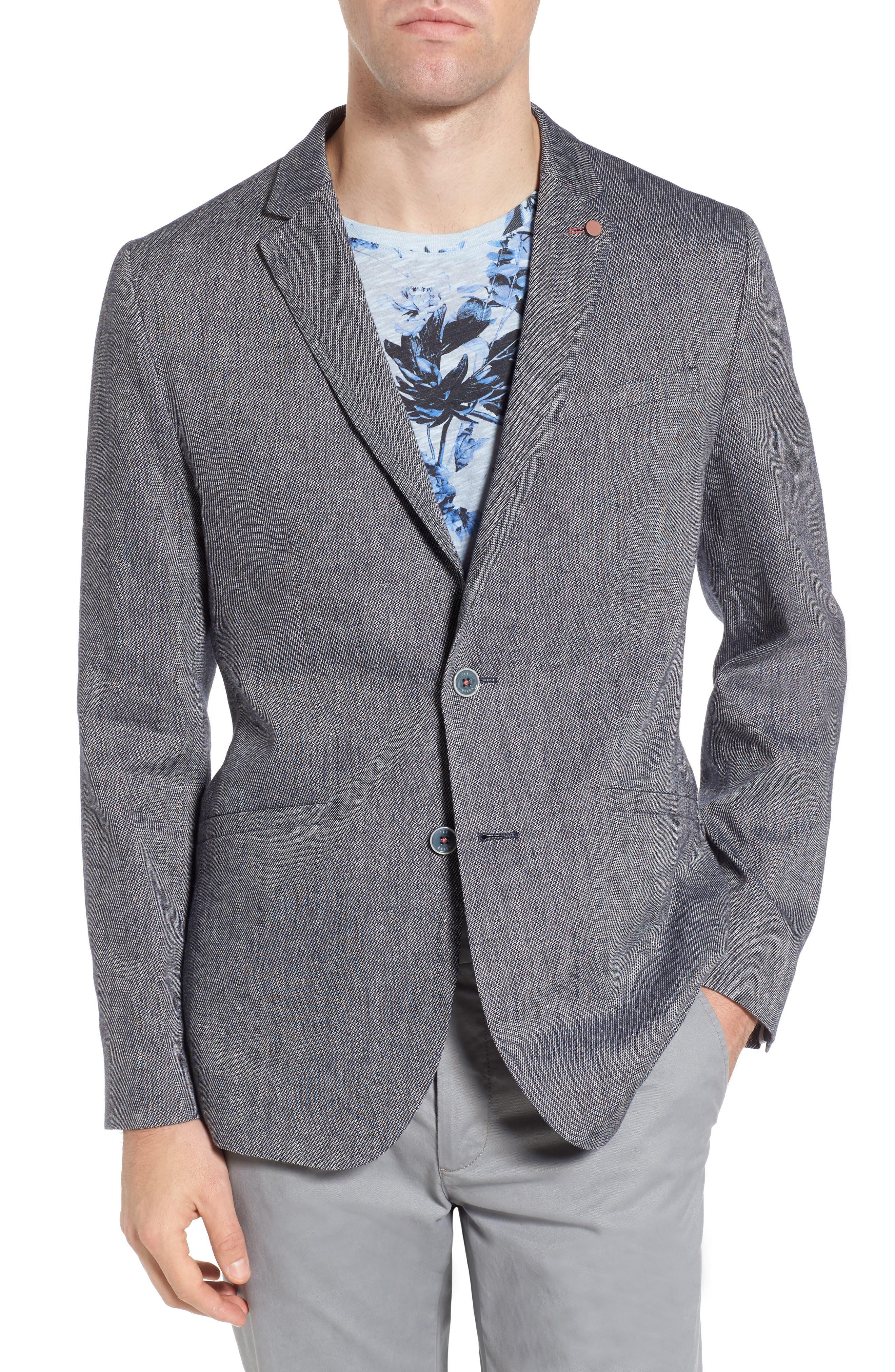 Hines Trim Fit Linen Blend Blazer,                         Main,                         color, BLUE