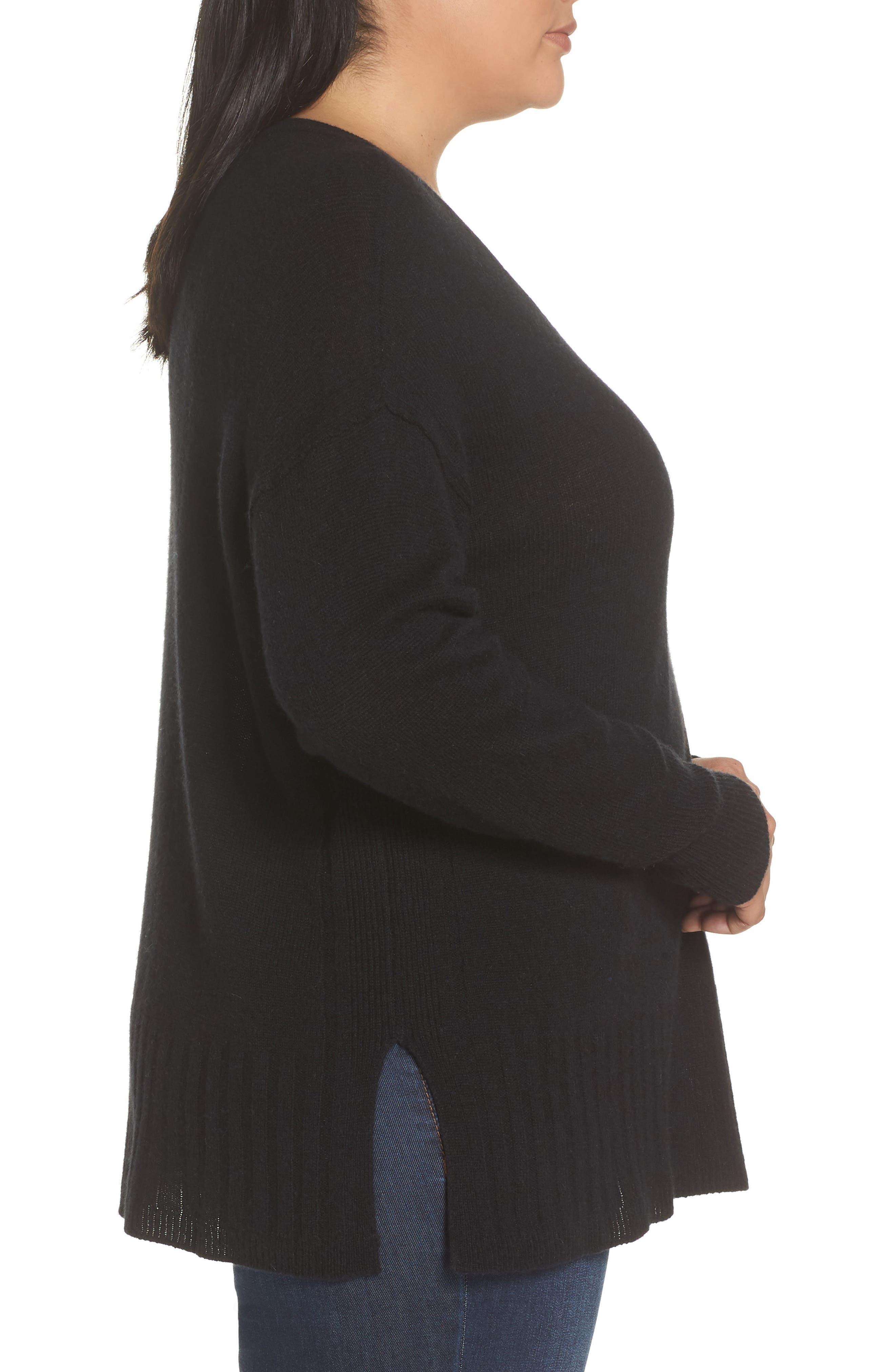Wool & Cashmere Side Split Pullover,                             Alternate thumbnail 3, color,                             BLACK