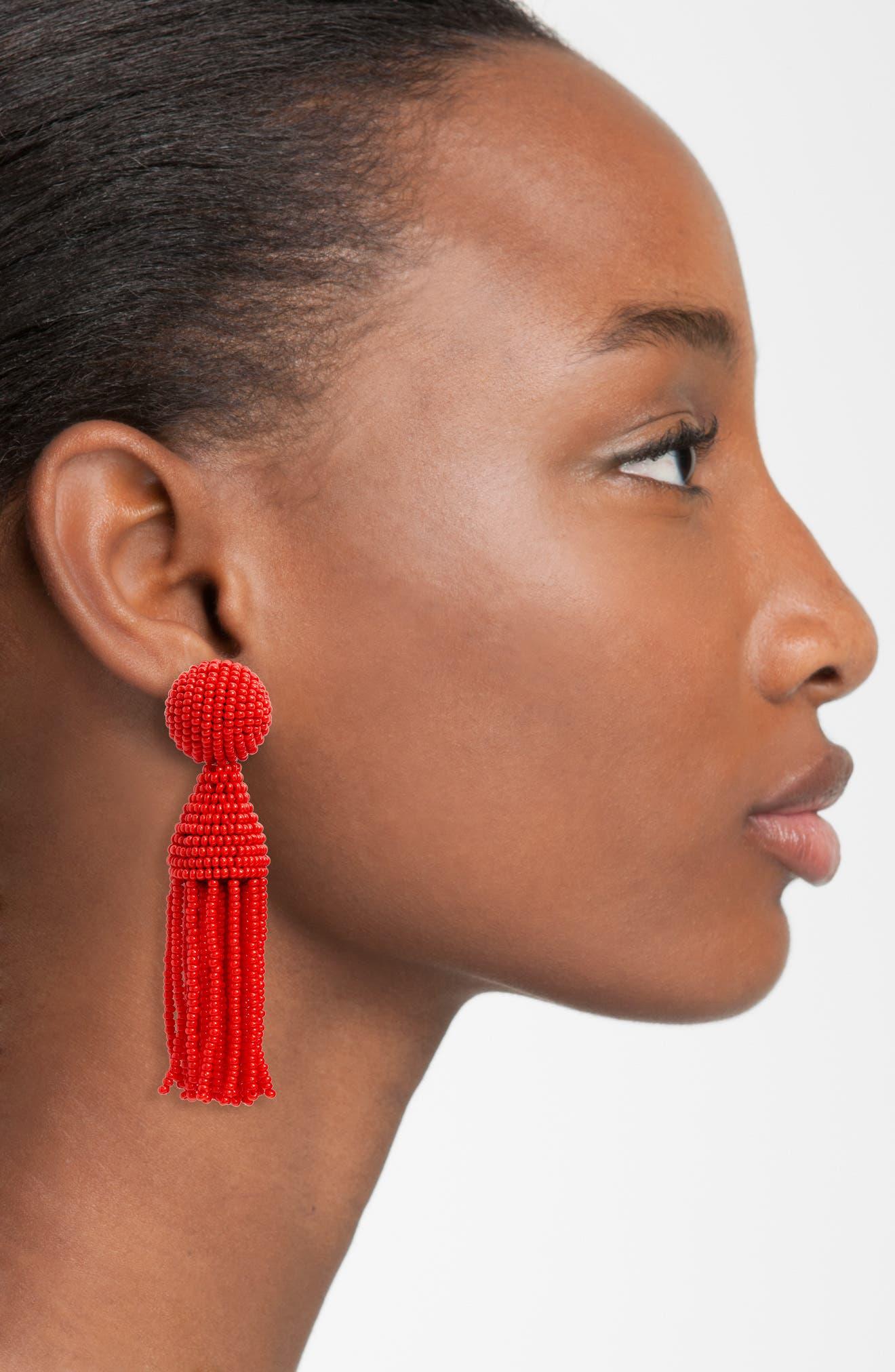 'Classic Short' Tassel Drop Clip Earrings,                             Alternate thumbnail 38, color,