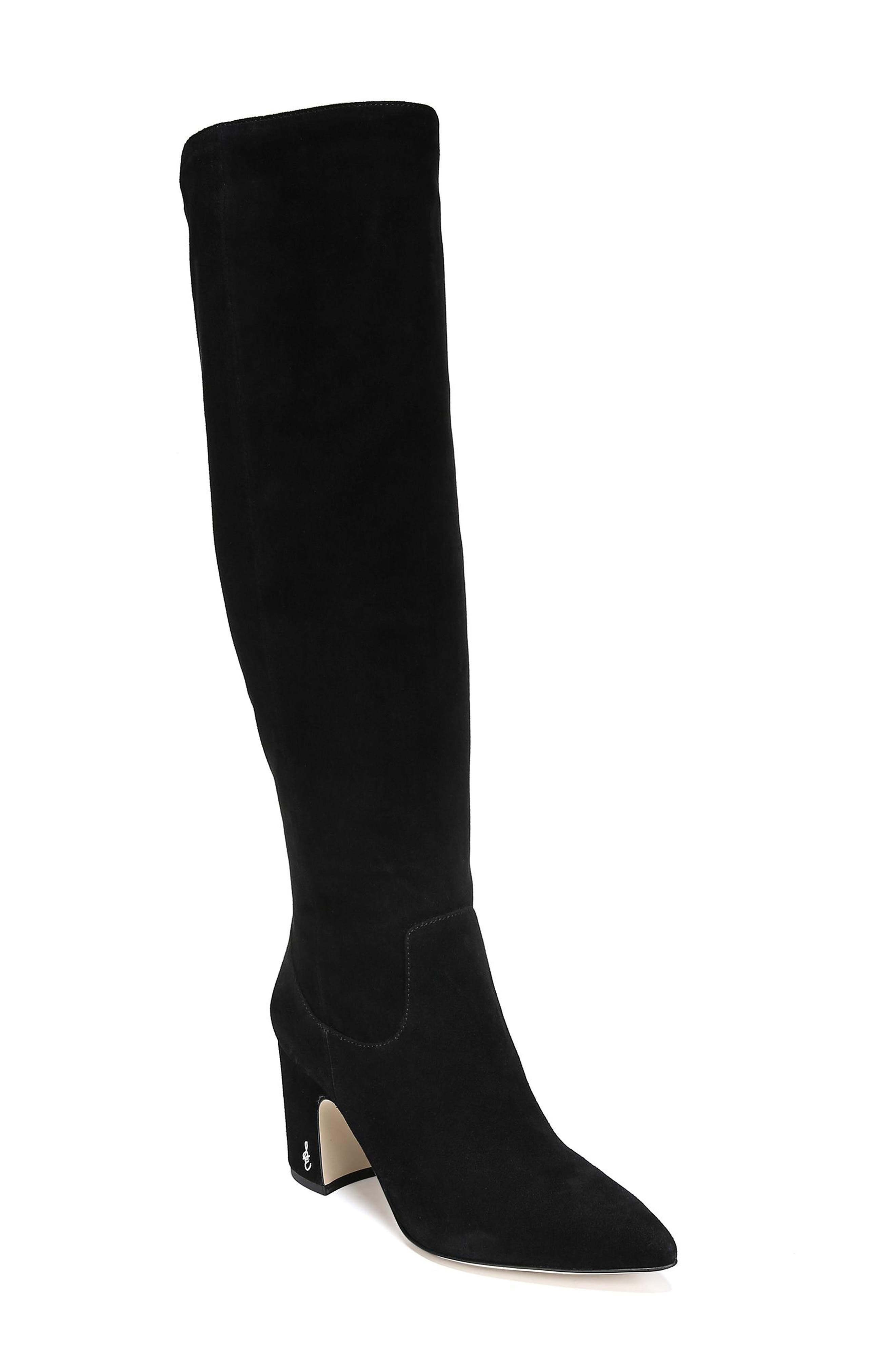 Hai Knee High Boot,                             Main thumbnail 1, color,                             BLACK SUEDE