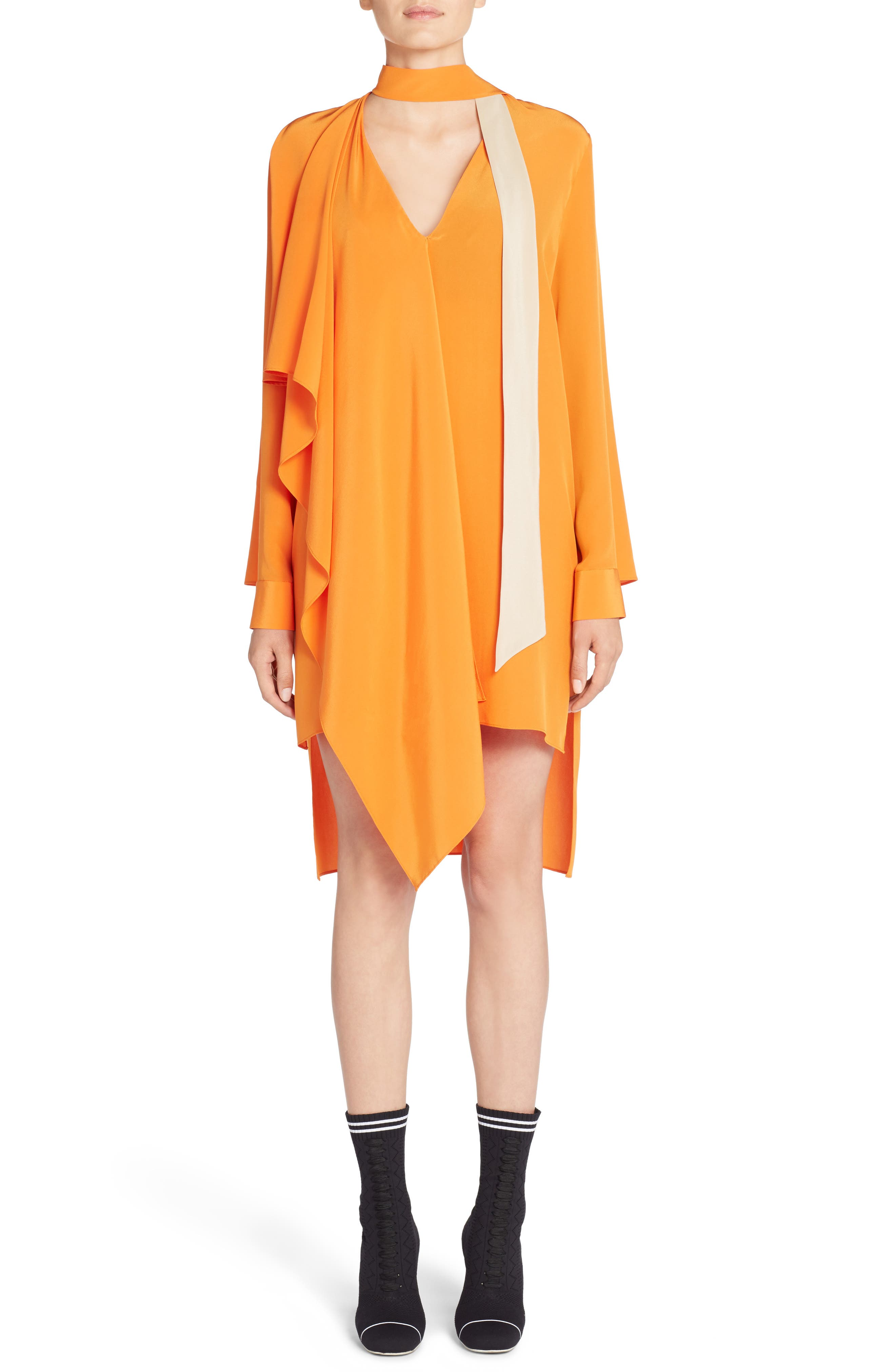 Drape Silk Crêpe de Chine Dress,                             Alternate thumbnail 5, color,                             650