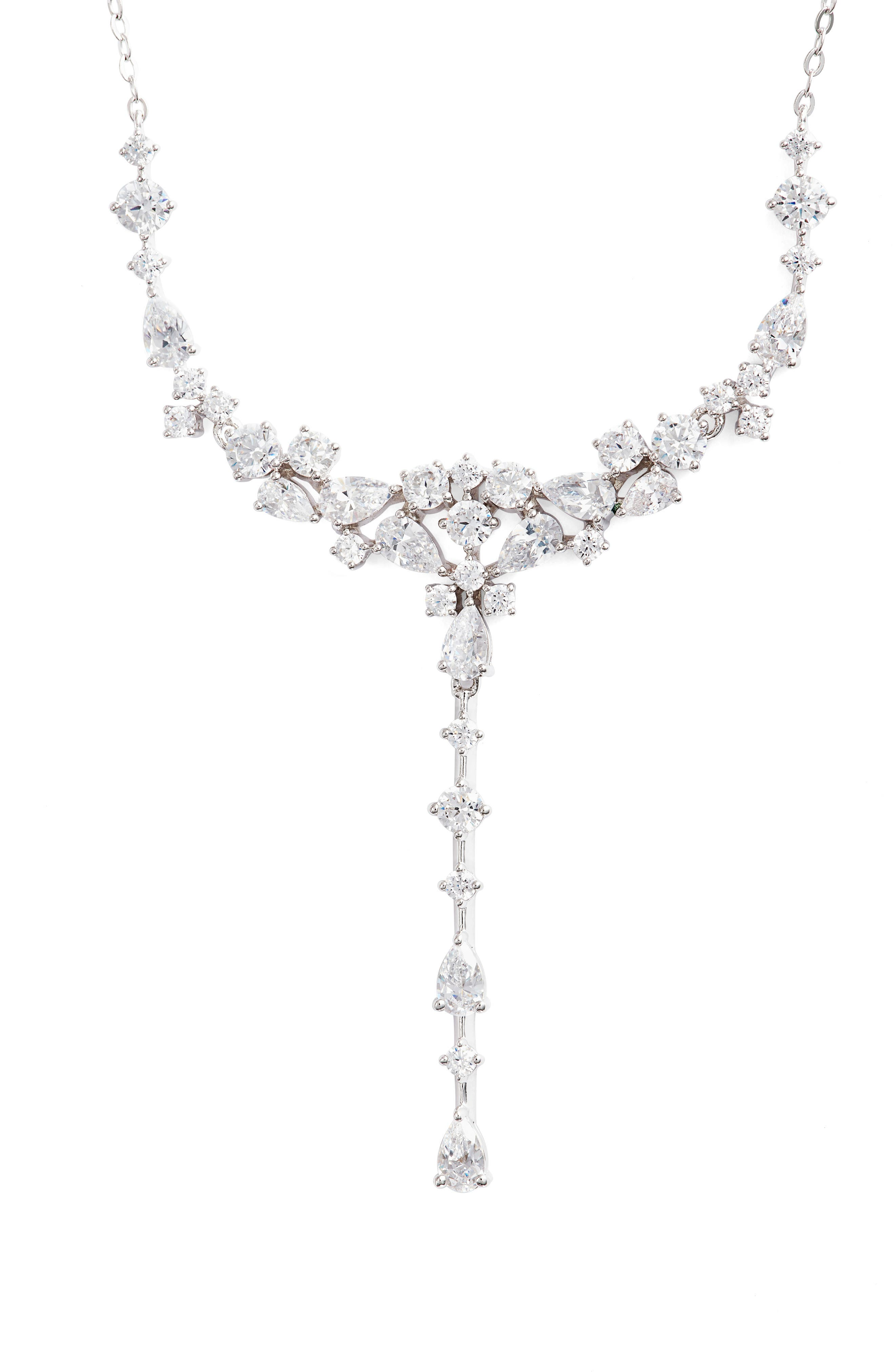Cubic Zirconia Necklace,                             Main thumbnail 1, color,                             SILVER