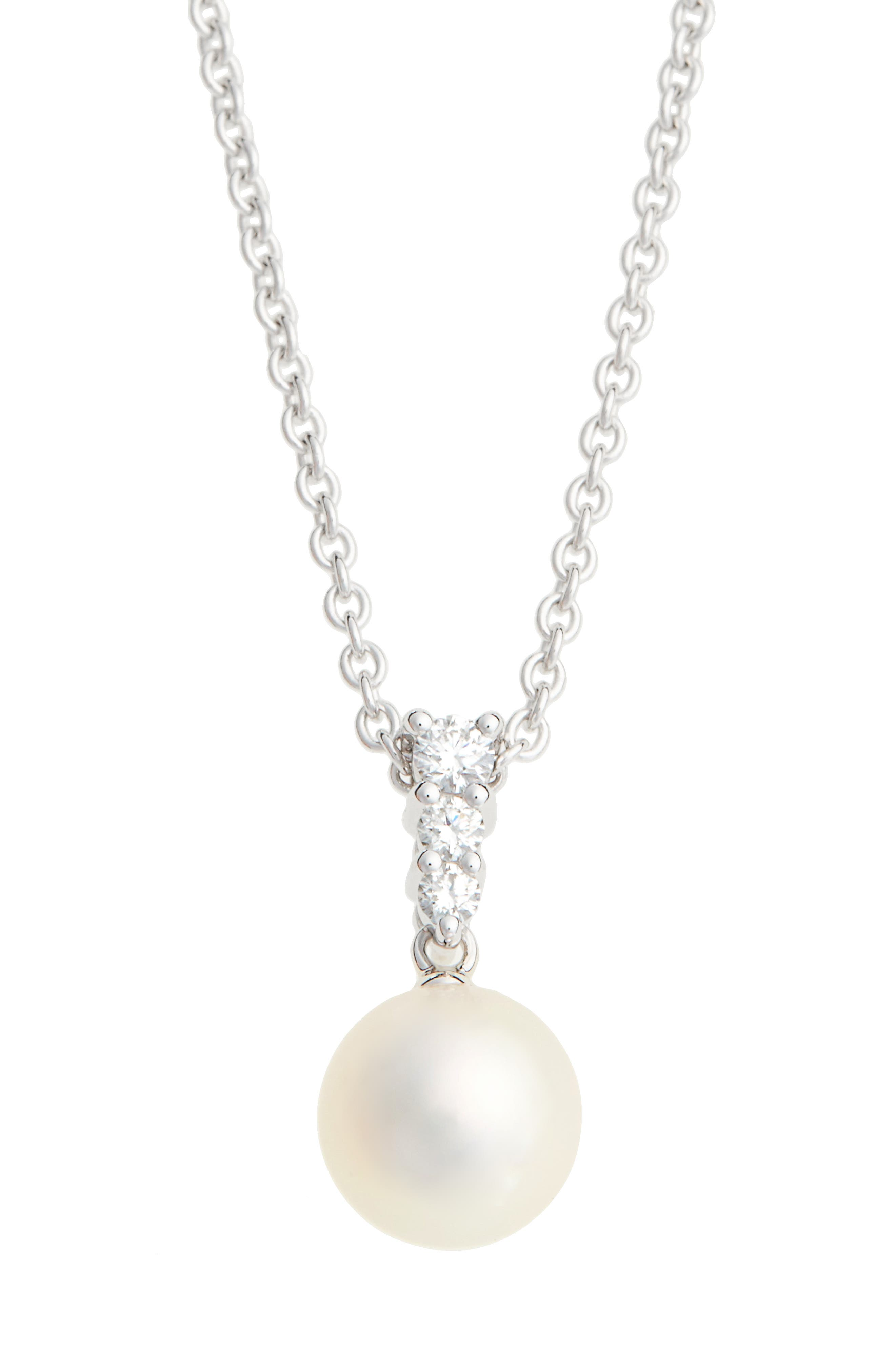 'Morning Dew' Akoya Cultured Pearl & Diamond Pendant Necklace,                         Main,                         color, WHITE GOLD