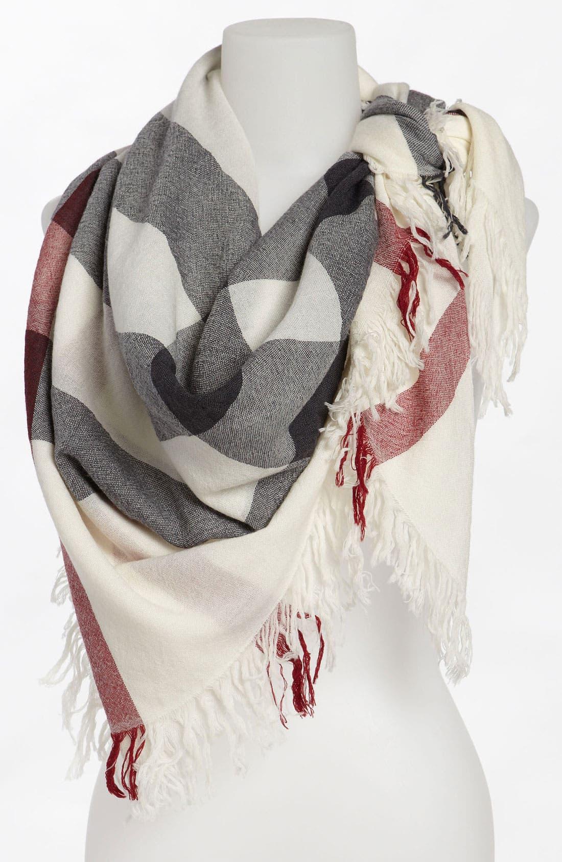 Check Merino Wool Scarf,                             Main thumbnail 1, color,                             900