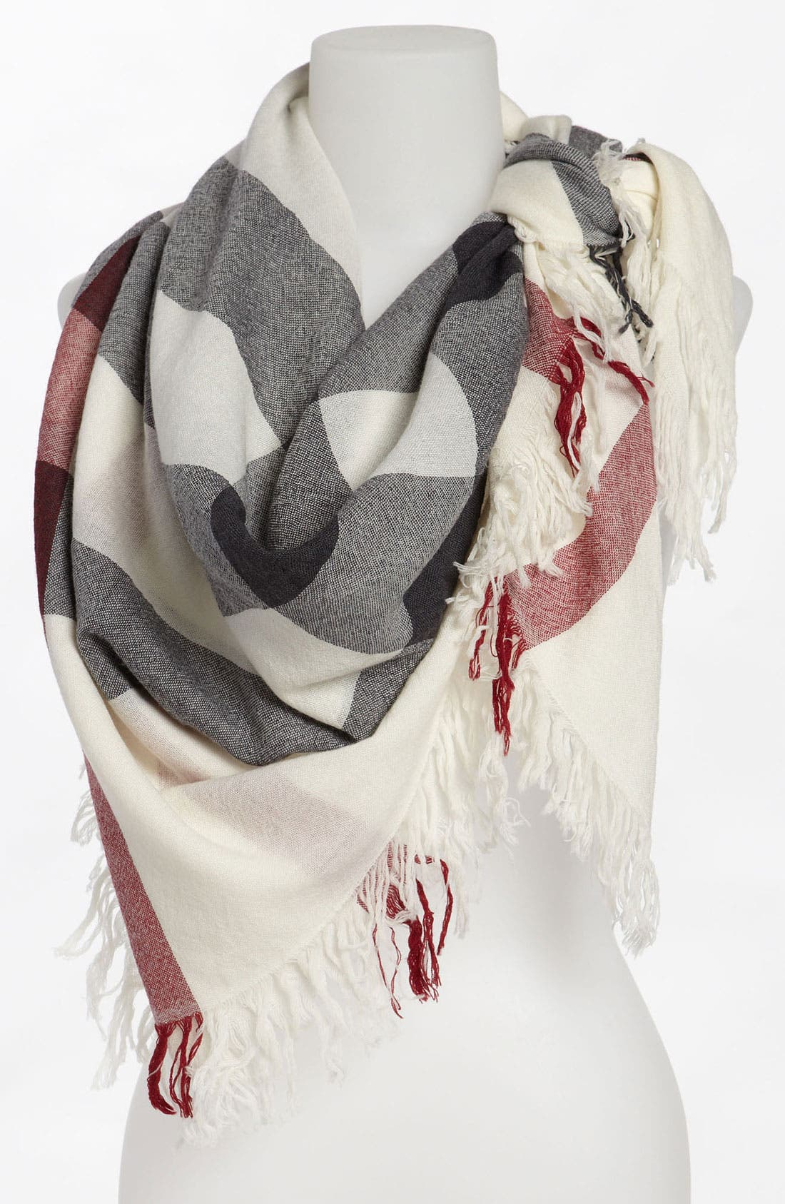 Check Merino Wool Scarf, Main, color, 900