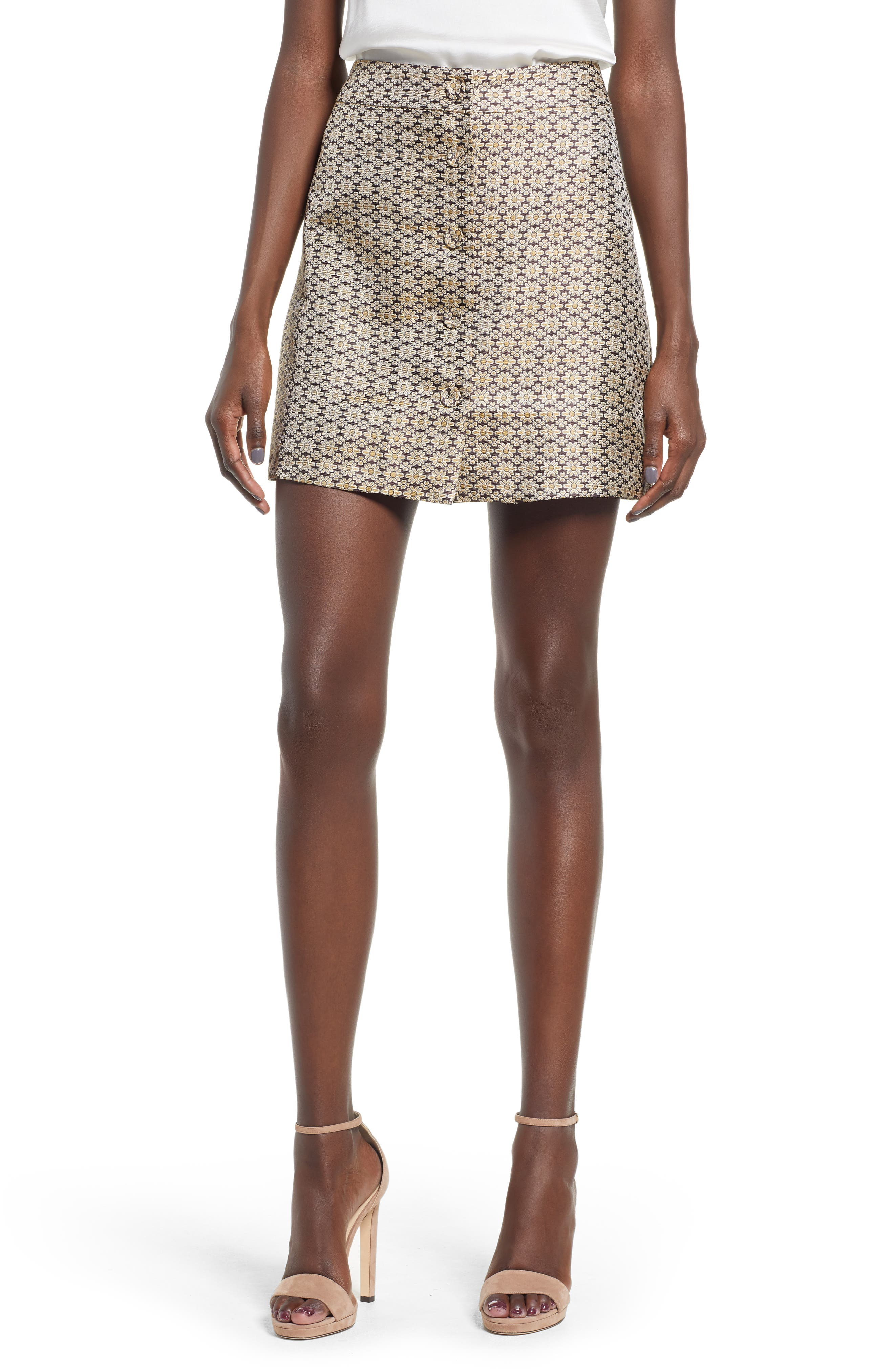 Plus Size Wayf Pelham Button Front Miniskirt, Metallic