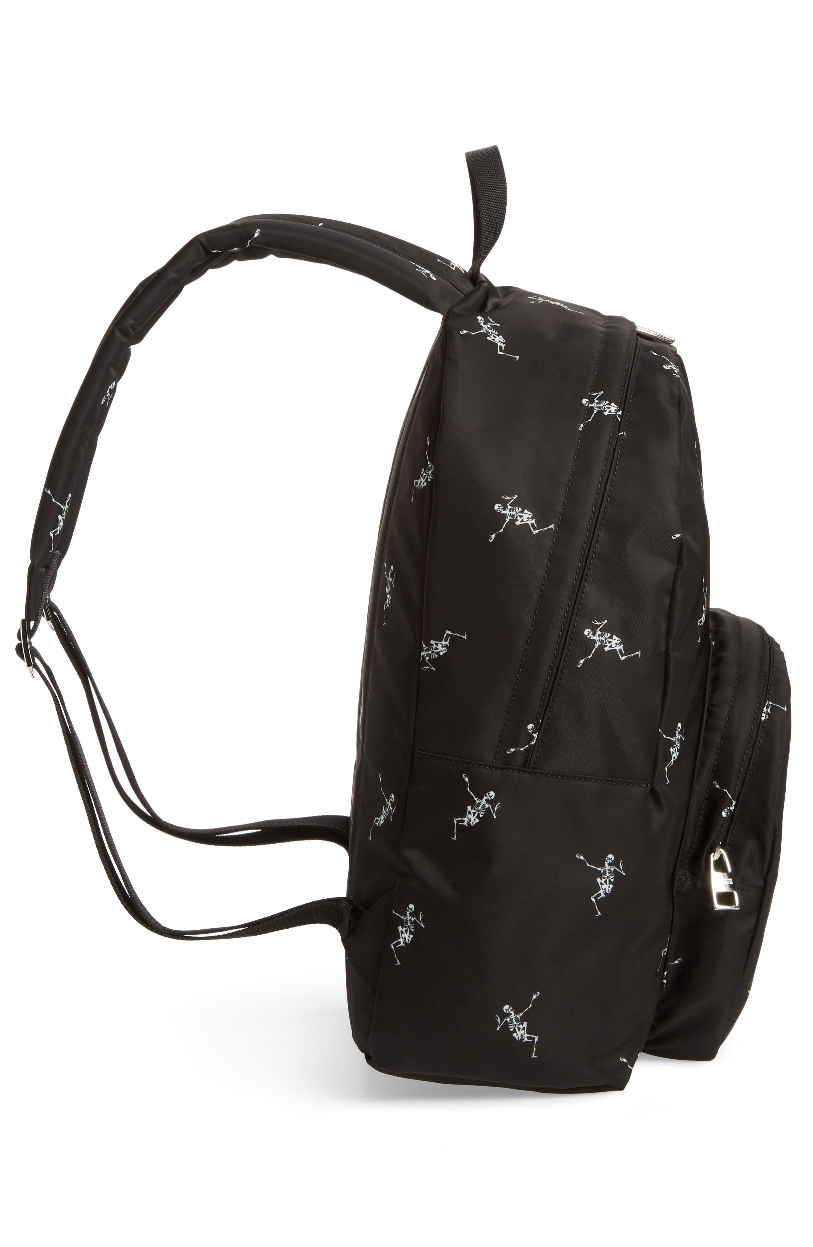 Dancing Skeleton Backpack,                             Alternate thumbnail 5, color,                             BLACK/ OFF WHITE