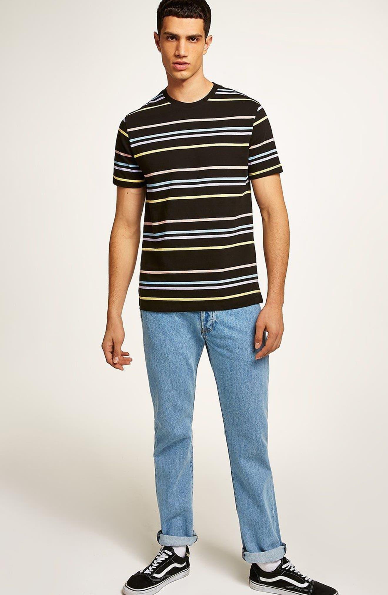 Classic Fit Rainbow Stripe T-Shirt,                             Alternate thumbnail 4, color,                             001