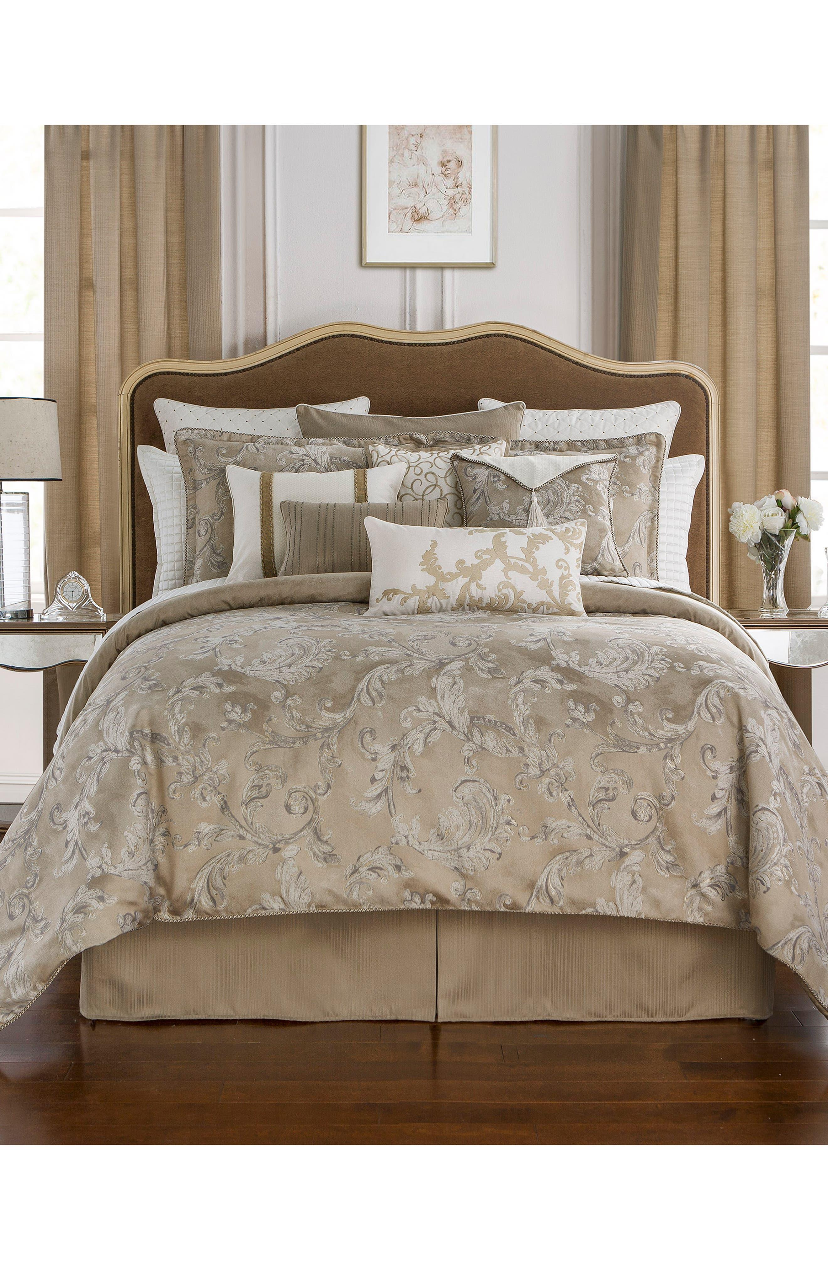 Chantelle Reversible Comforter, Sham & Bed Skirt Set,                             Main thumbnail 1, color,                             TAUPE