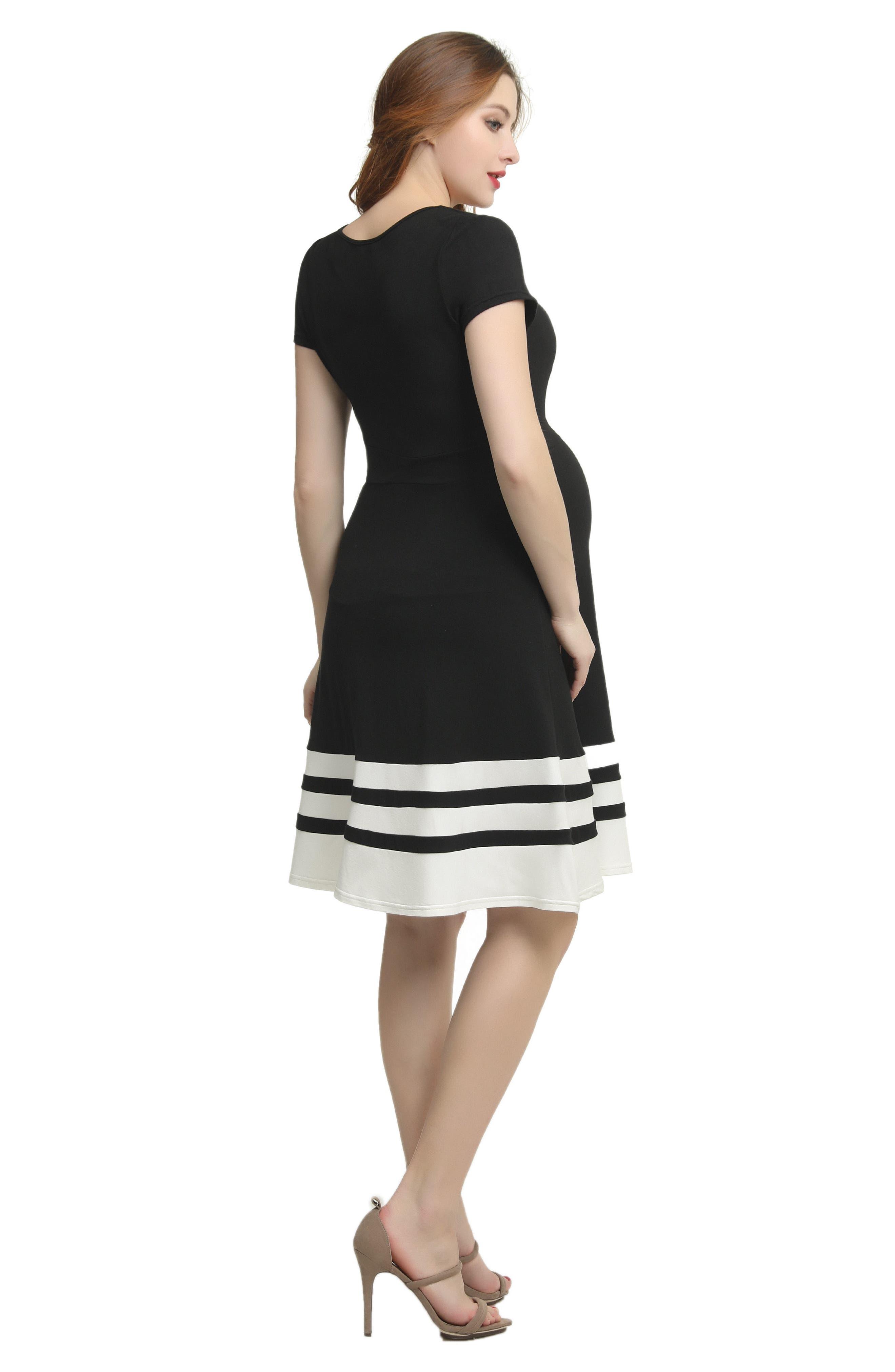 Theresa Colorblock Maternity Skater Dress,                             Alternate thumbnail 4, color,                             BLACK/ WHITE
