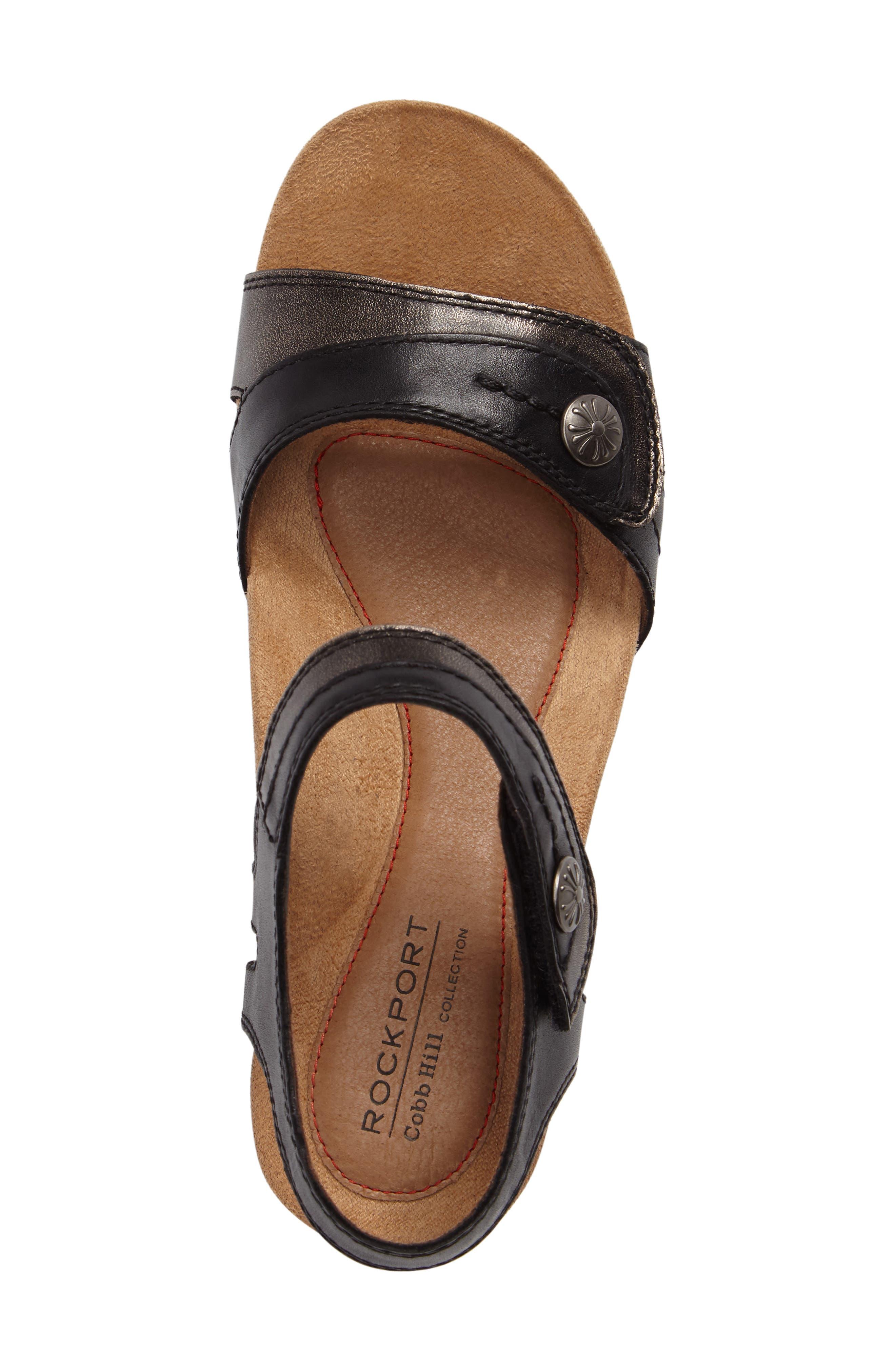 Hollywood Wedge Sandal,                             Alternate thumbnail 5, color,                             BLACK LEATHER