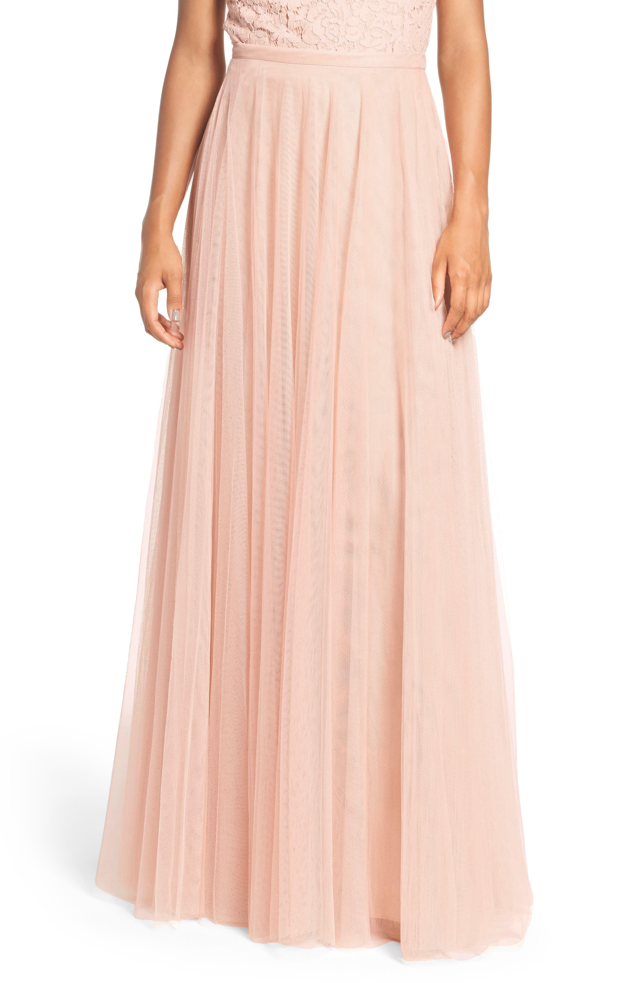 Winslow Long Tulle A-Line Skirt,                             Alternate thumbnail 2, color,                             CAMEO PINK