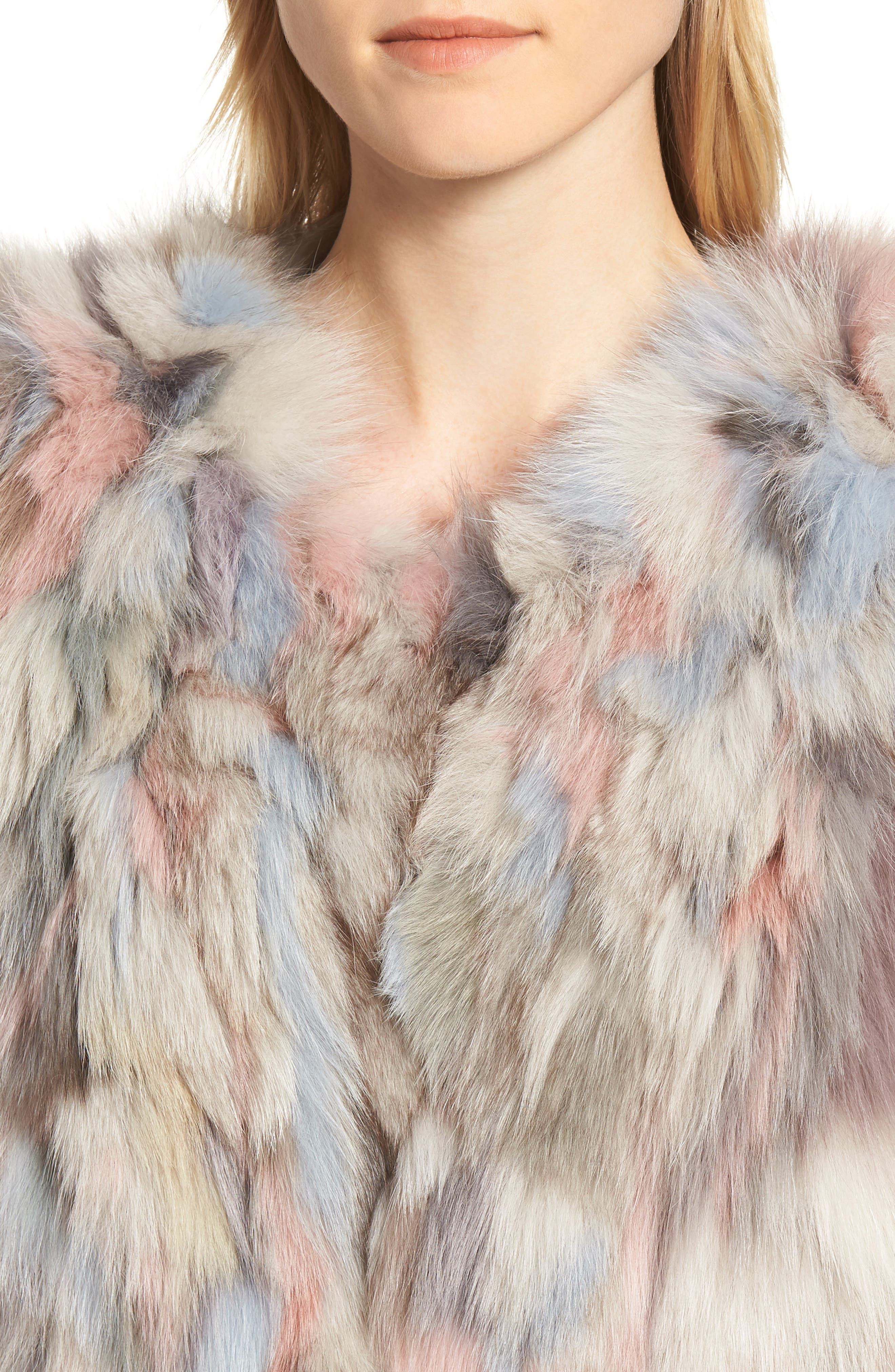 Genuine Fox Fur Bolero,                             Alternate thumbnail 4, color,                             NUDE MULTI