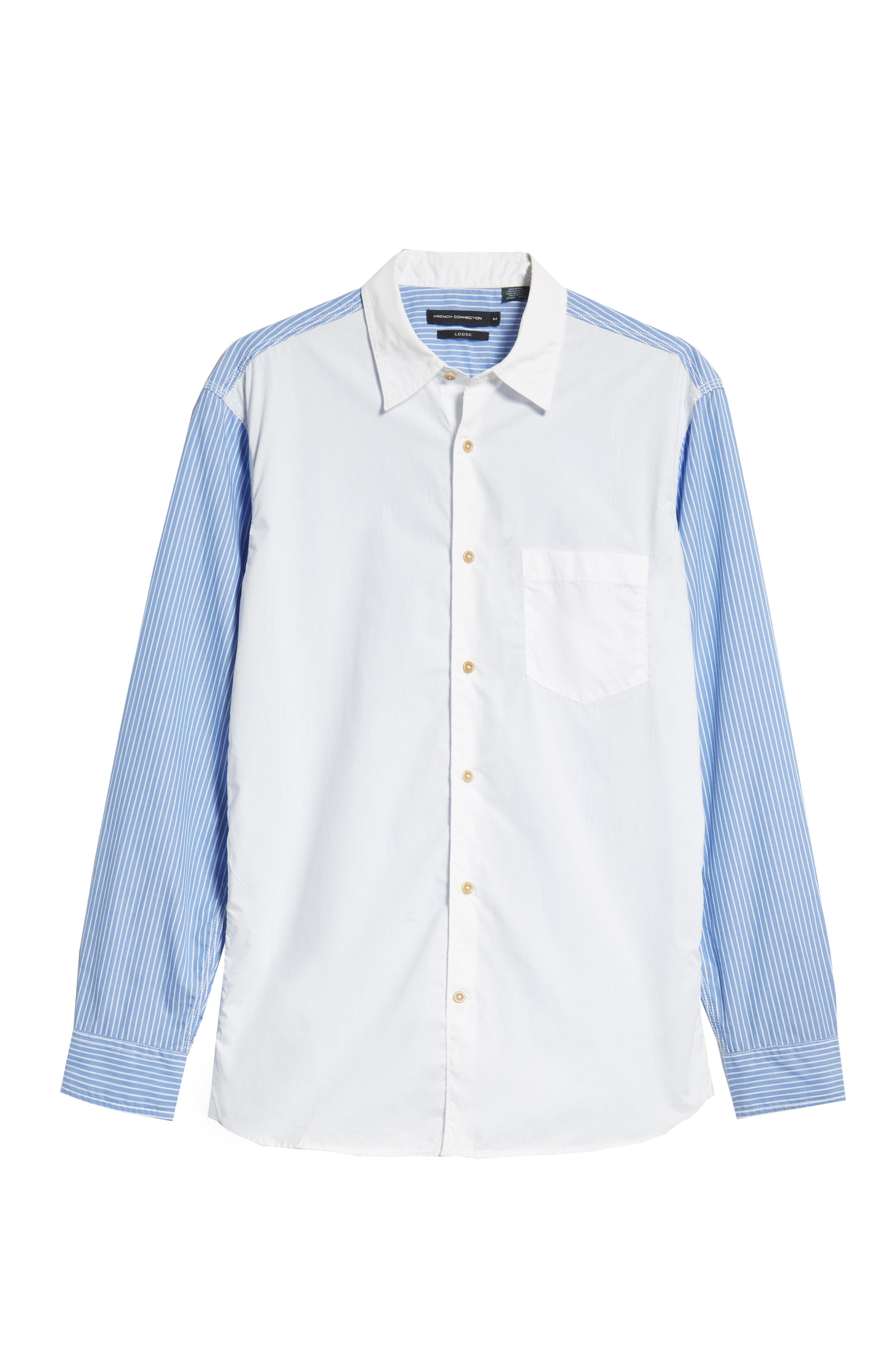 Stripe Hybrid Sport Shirt,                             Alternate thumbnail 6, color,                             WHITE RICH BLUE